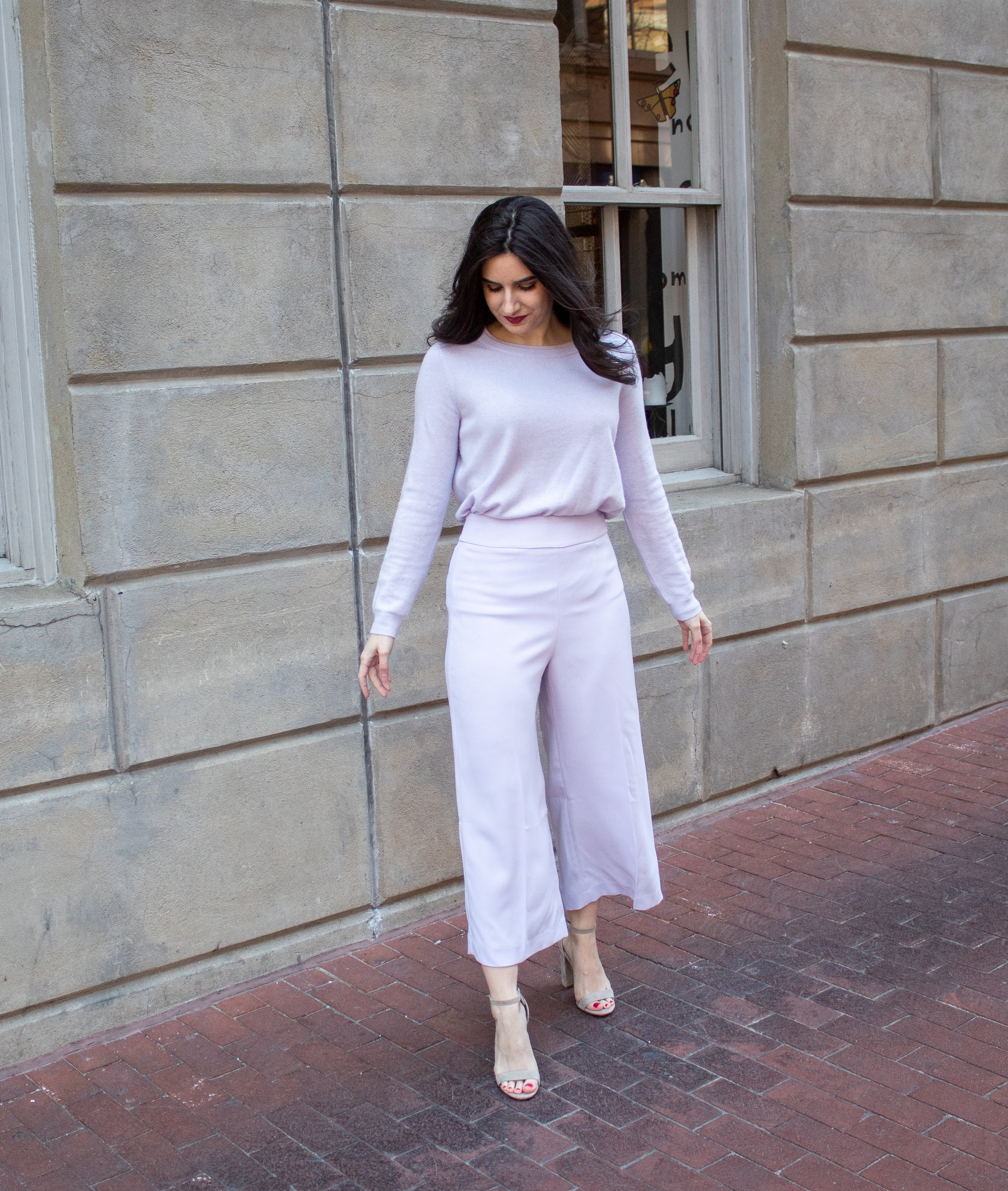 Sweater:  Pure , Bottoms:  Express (lilac purple) , Shoes:  Similar, Nordstrom, Sam Edelman
