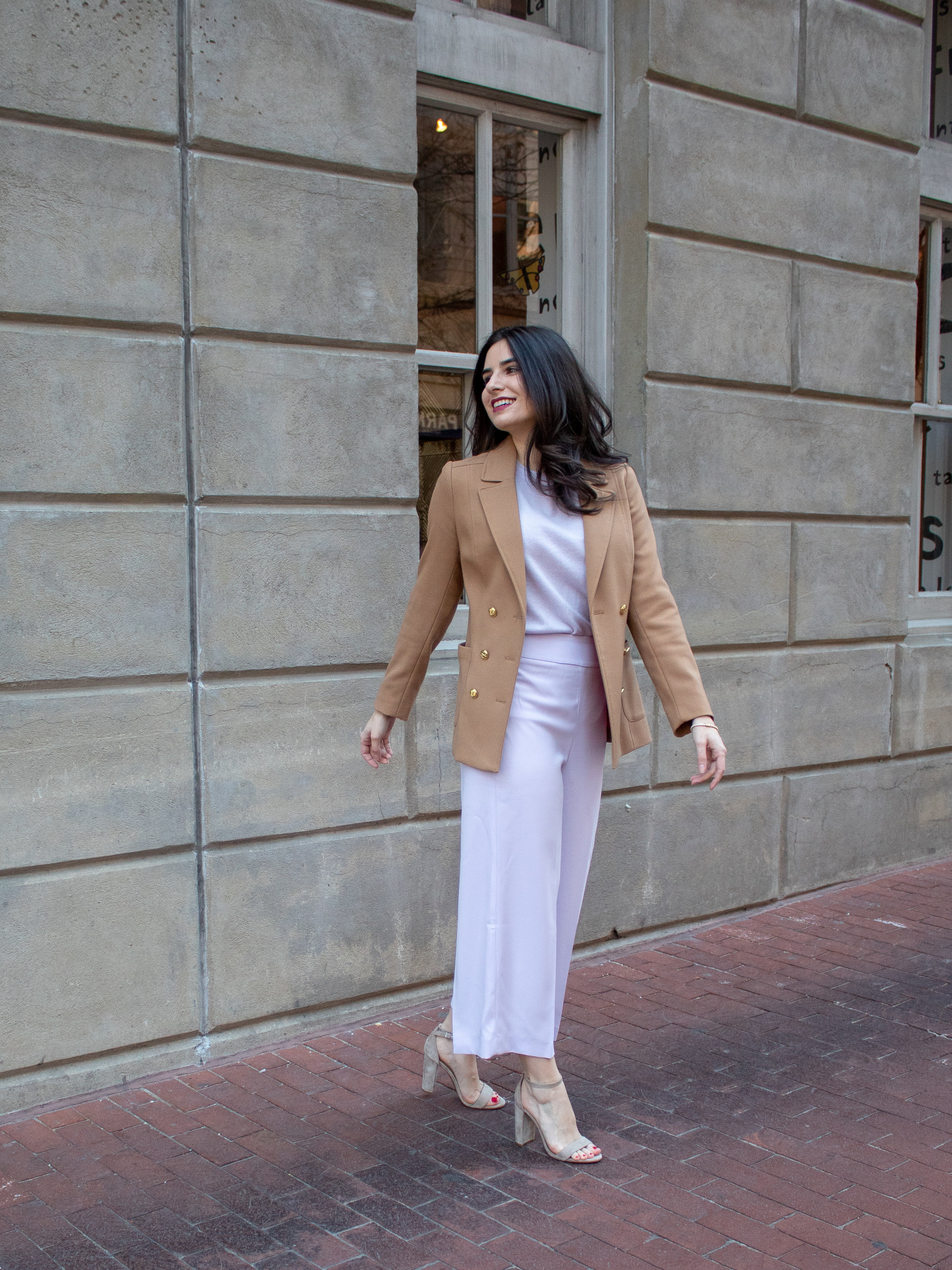Sweater:  Pure , Bottoms:  Express (lilac purple) , Shoes:  Similar, Nordstrom, Sam Edelman , Blazer:  Similar, Ralph Lauren, Macy's