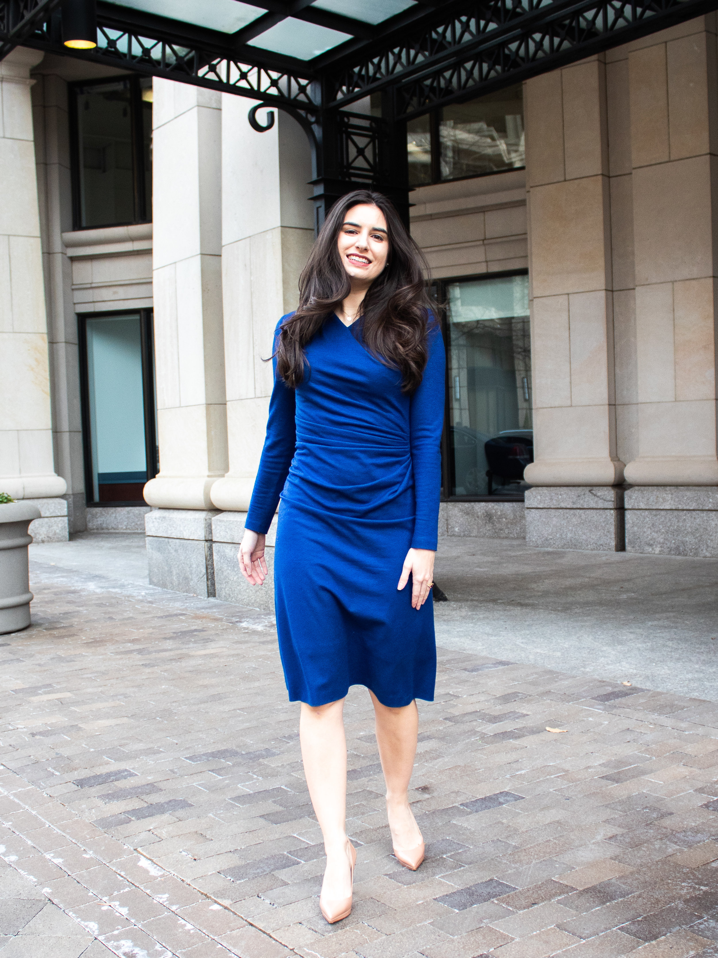 Dress:  The Fold , Heels:  Christian Louboutin, Neiman Marcus