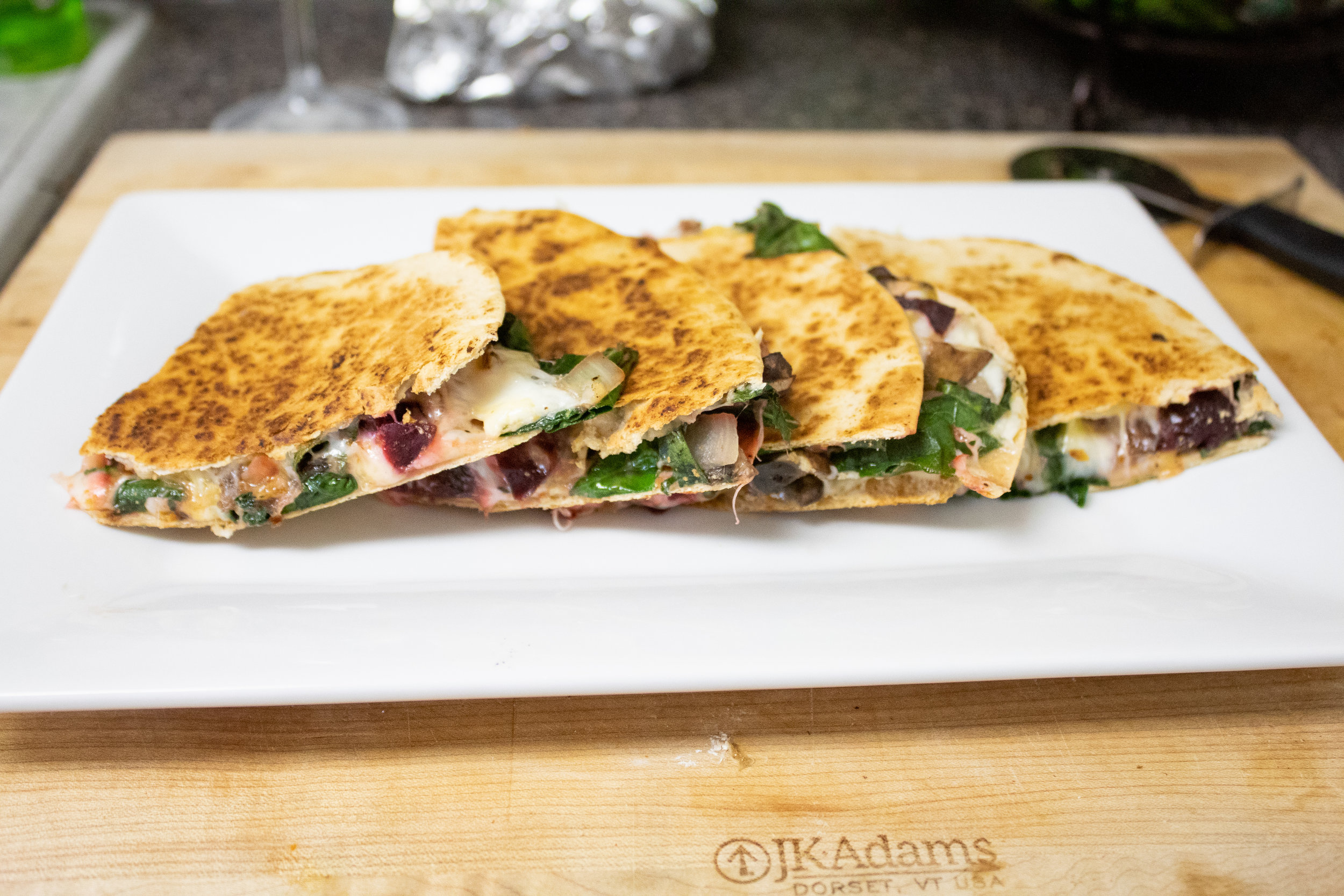 Healthy and low calorie veggie and cheese quesadilla with beets