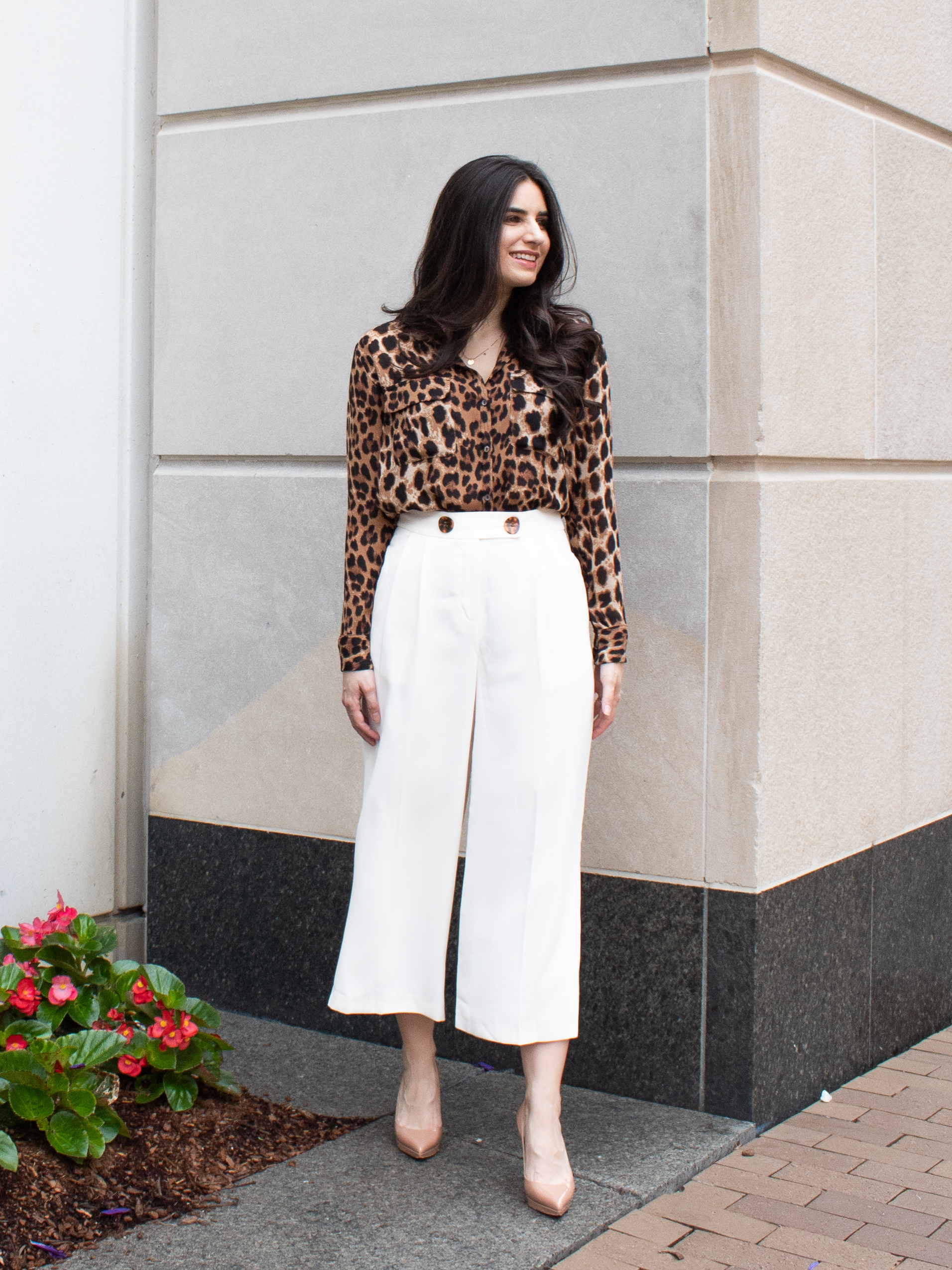 The summer trend that I am absolutely loving right now are these wide leg, cropped pants! I am seeing them everywhere and in every color! I have linked these exact pants below. I really like them because they are super light and airy for summer, and since they're white, they match almost everything! These pants look particularly good with brown/tan/camel/black neutrals, since they have these beautiful tortoise-shell buttons on the front, which play off of those colors. These pants look super cute with both heels and flats which I have demonstrated in the photos below. Also, since they are not lined, I advise wearing something underneath, like  these spanx  ( https://rstyle.me/n/dm3tgccd2mf)  (which I am wearing in these photos!). P.S. I just recently discovered the miracle of spanx. I have heard of them before, but never tried them. My verdict: they're amazing and I have no idea where they've been all my life! They are perfect for wearing under thinner or lighter fabrics or whenever you need extra coverage.
