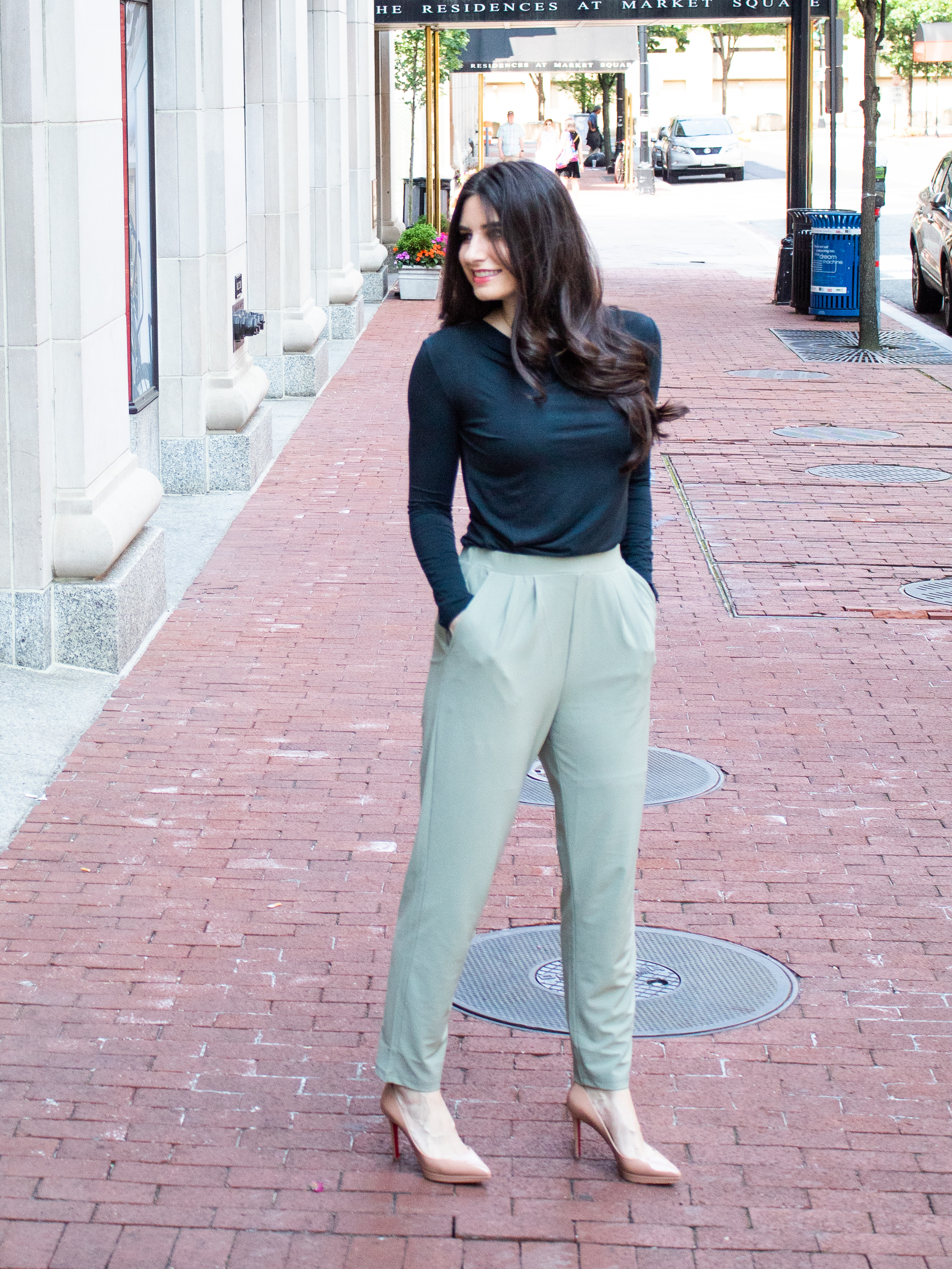 One of the best things about these tapered pants is there are no zippers or buttons, just elastic! They are super comfy and I am loving the fun colors for summer. The only drawback is the fabric is kind of thin and they're not lined. So, I definitely wear  my spanx  ( https://rstyle.me/n/dm3tgccd2mf)  with these if I'm at work! I paired these pants with a dark forest green, long sleeve top, but they would pair nicely with any neutral. The fabric of these pants also appears to be fairly wrinkle-resistant, which is a plus! I bought these from Nordstrom, and while they are out of this specific color, I linked to the same pants in a couple different colors, and then a few different styles in this light green color.