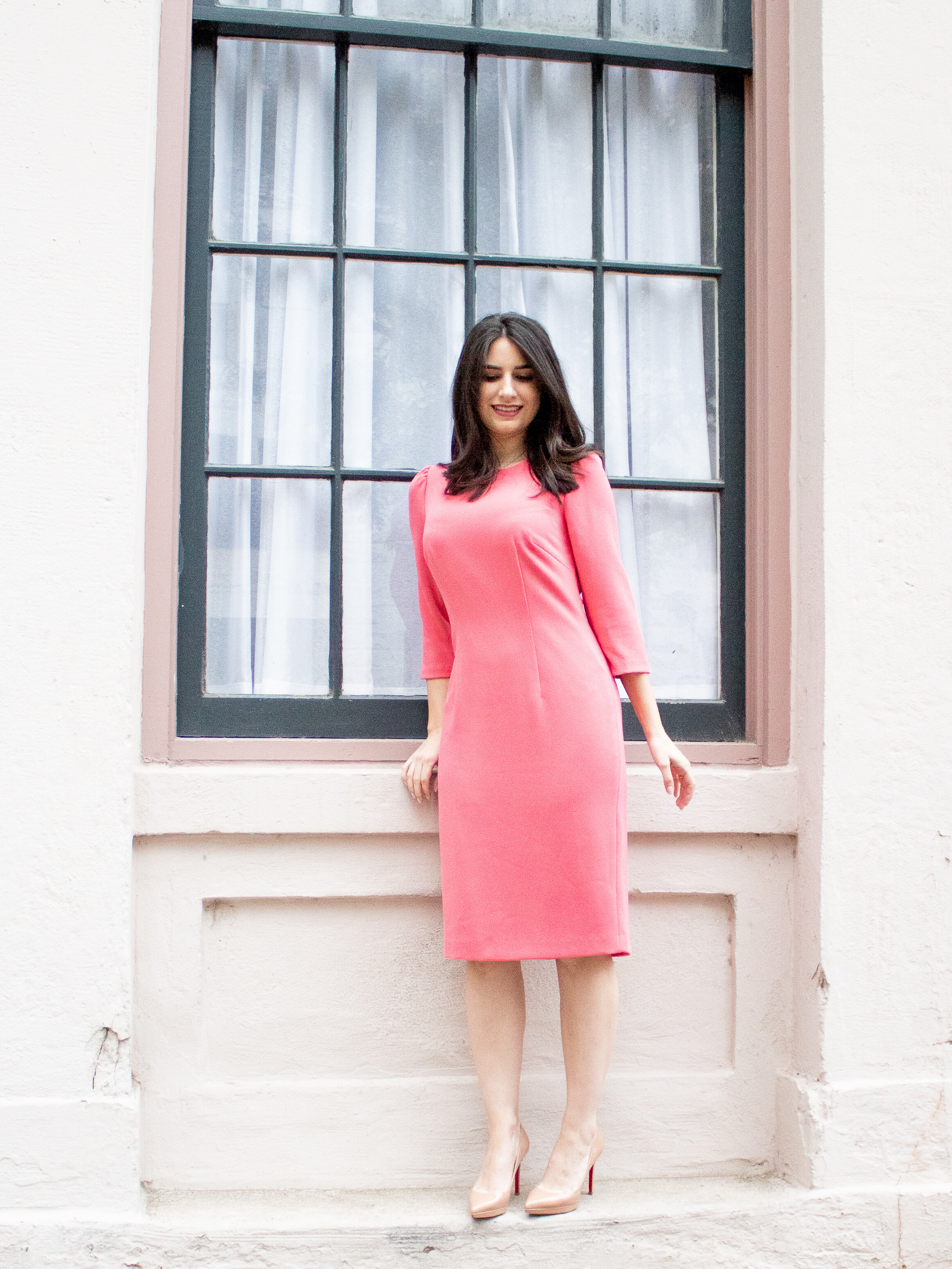 pink shift dress with sleeves