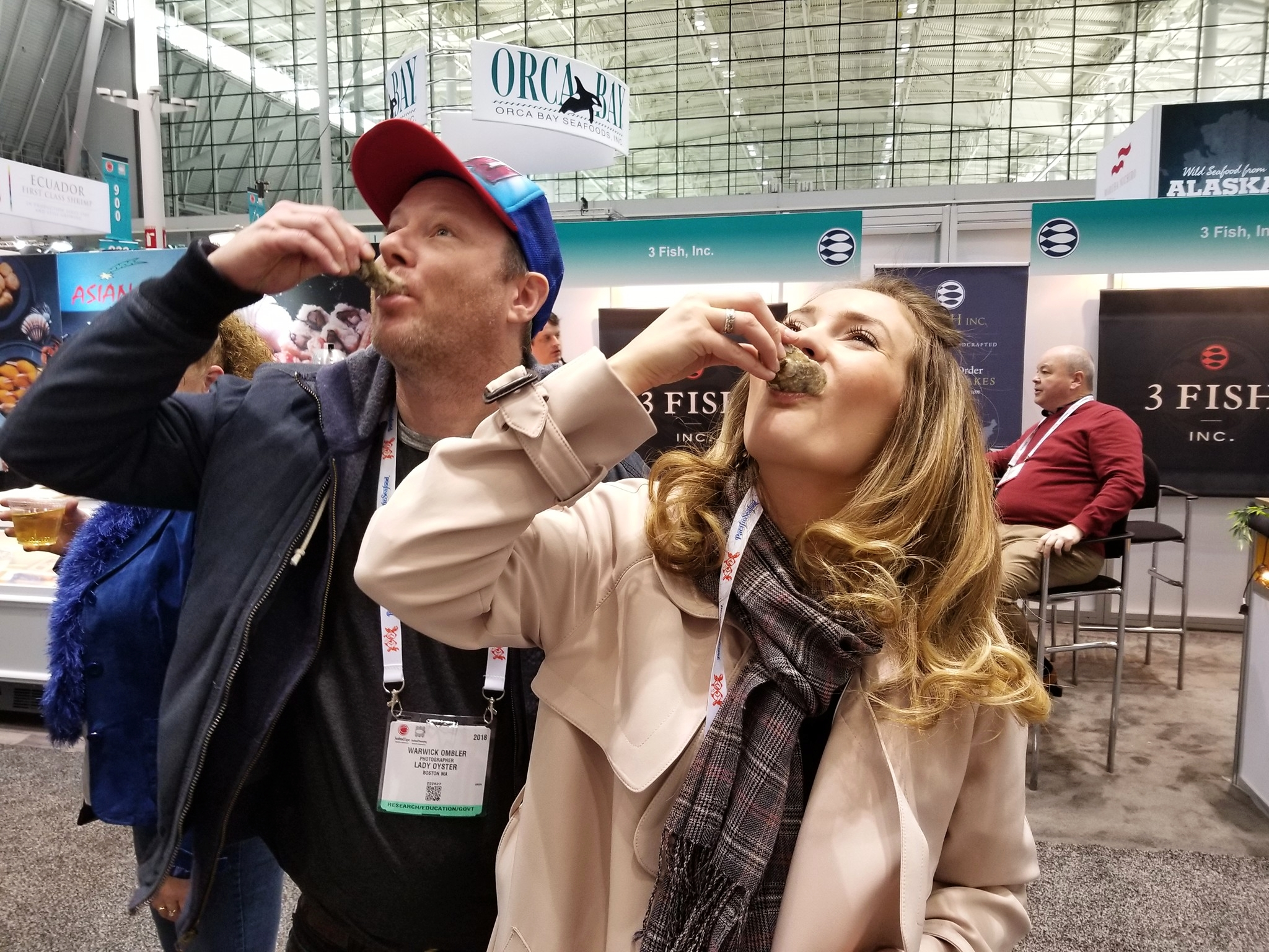 Warwick and I slurping Atlantic Emeralds at the Seafood Expo!