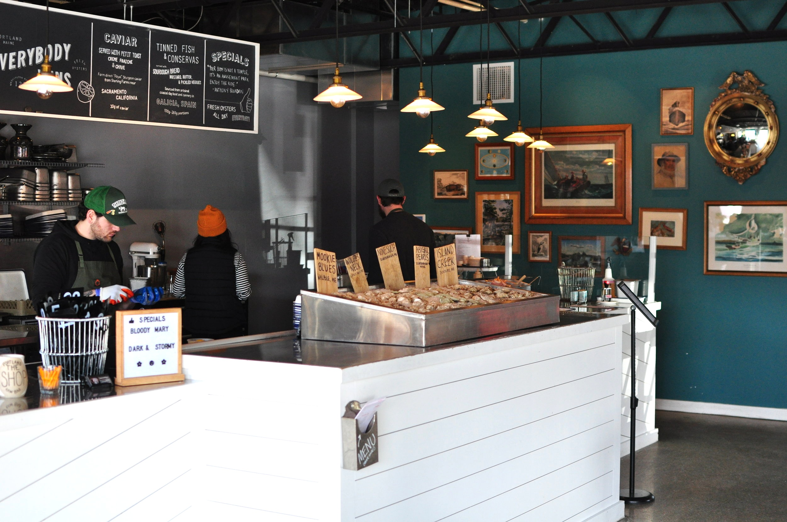 The Shop offers a selection of quality Maine oysters, beers, wines and bubbles, as well as caviar and tinned seafood.