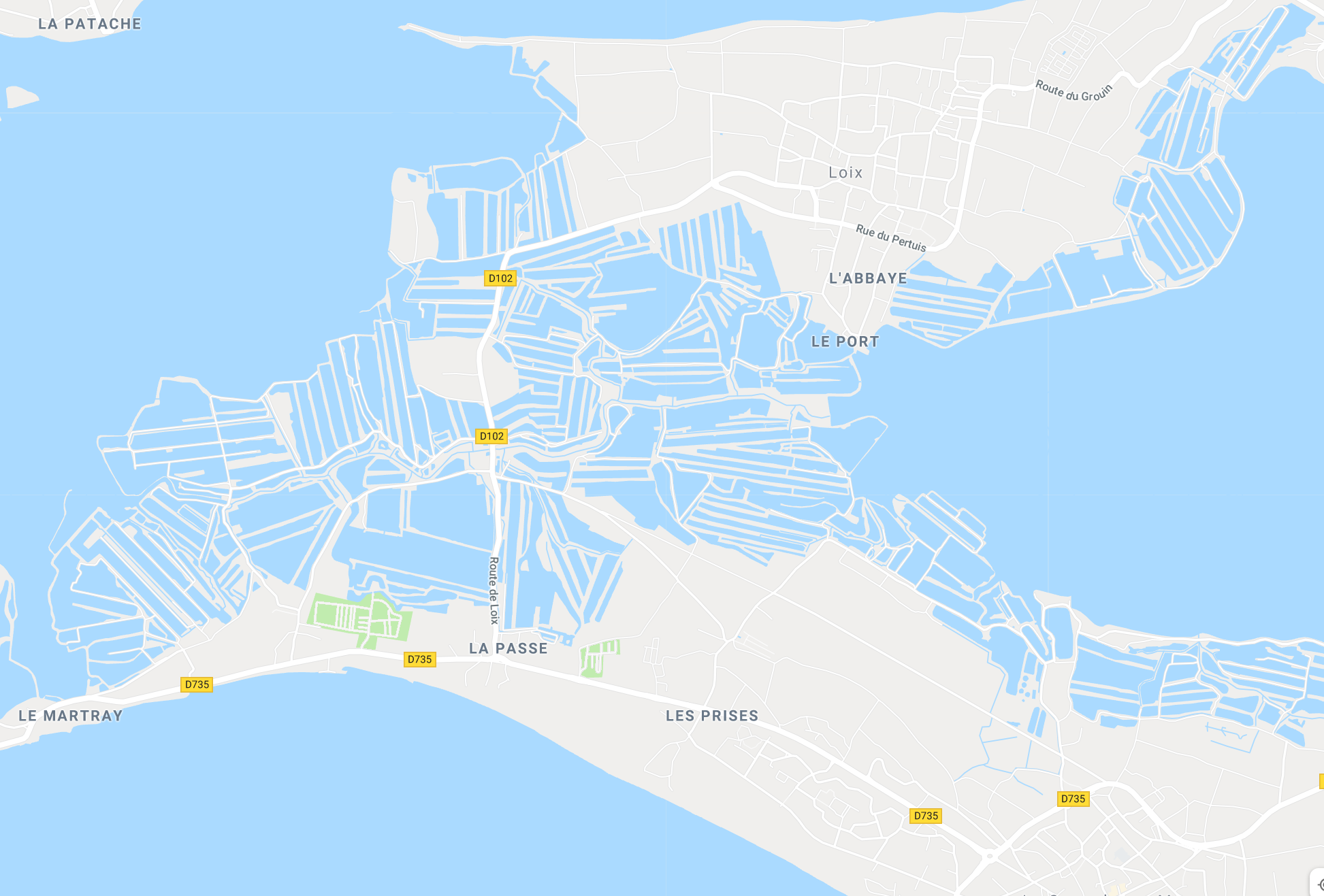 What the oyster farm water basins look like on the map in Ile de Re!