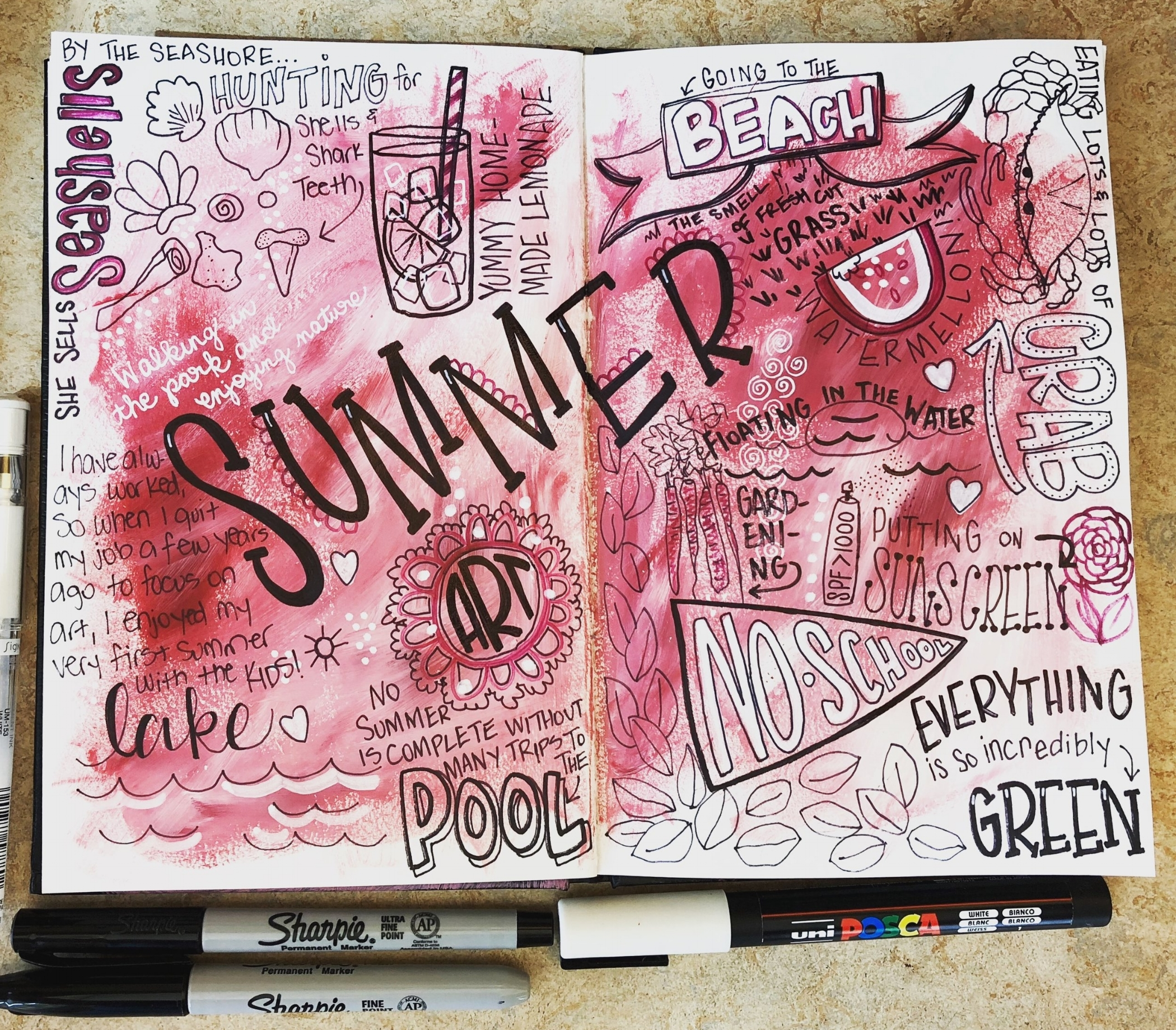 This is just a fun little spread I've been working on in my art journal...