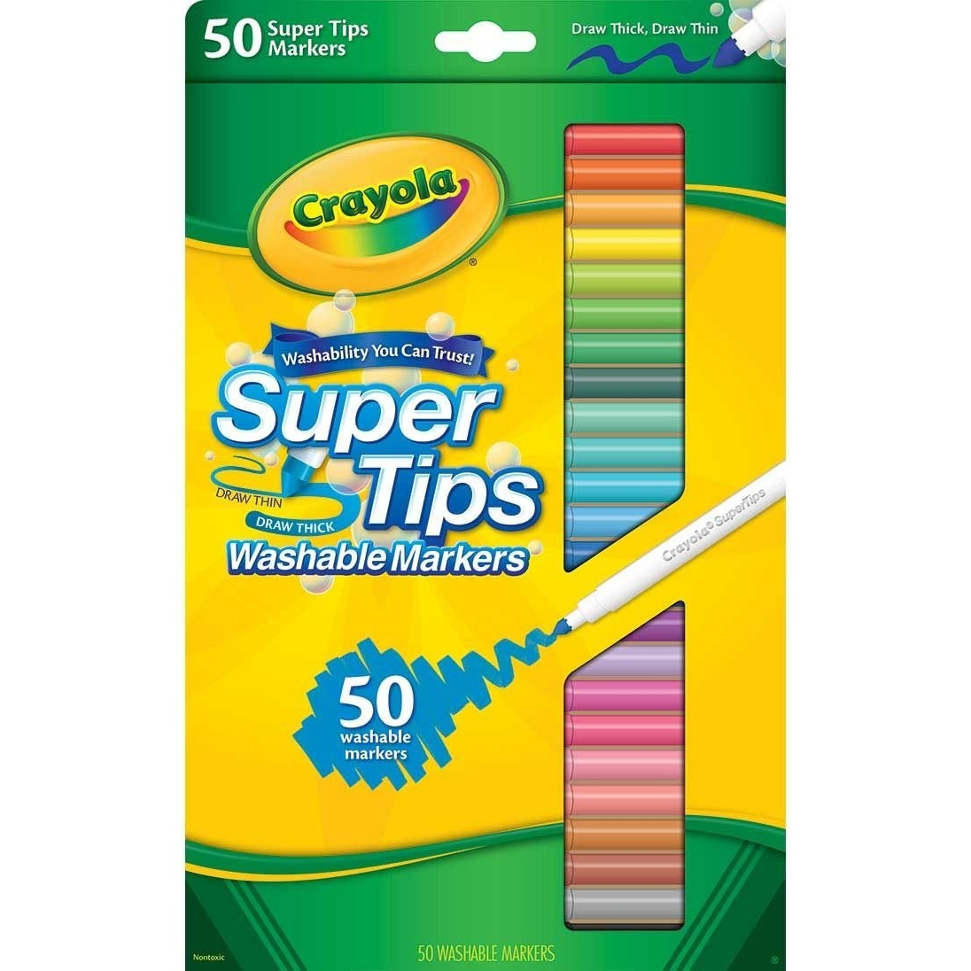 CRAYOLA SUPERTIPS - I love these because they're cheap, they come in TONS of colors, they don't bleed through (most) paper, and they have this neat thick/thin tip so you can practice your calligraphy (crayligraphy) with them.