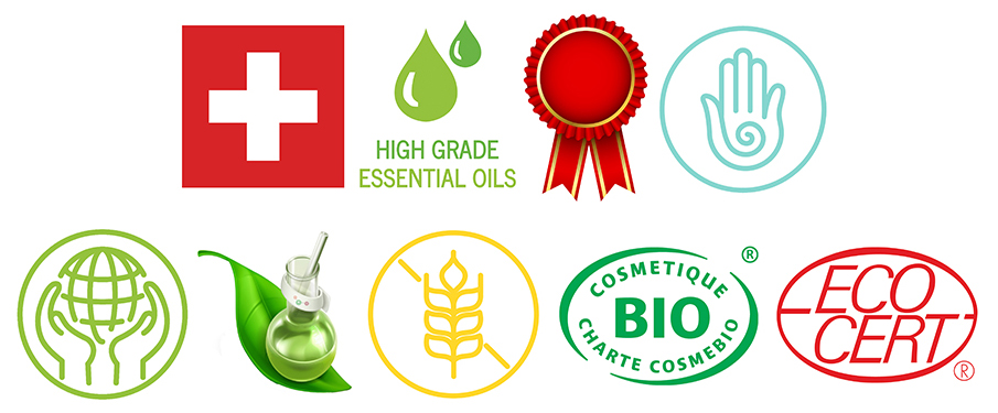100% SWISS MADE, PURE SWISS MOUNTAIN WATER, HIGH GRADE ESSENTIAL OILS, AWARD WINNING, CRUELTY-FREE/NOT TESTED ON ANIMALS, ECO-FRIENDLY/FAIR TRADE SOURCED, SUSTAINABLY DEVELOPED, VEGAN, GLUTEN-FREE, ORGANIC CERTIFIED, NATURAL, AIRLESS PACKAGING MOST PRODUCTS