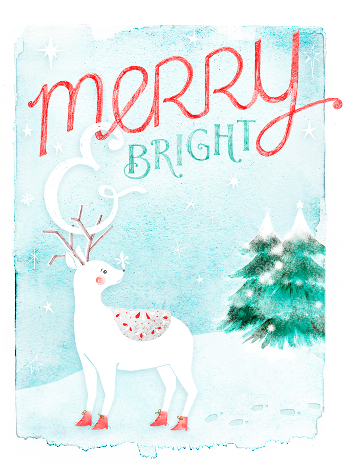 Merry and Bright by illustrator Amy Oreo | Quirky and whimsical freelance illustration