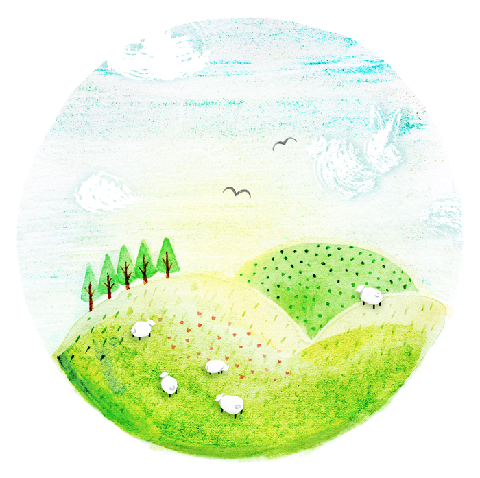 Green rolling hills by illustrator Amy Oreo | Quirky and whimsical freelance illustration for kids