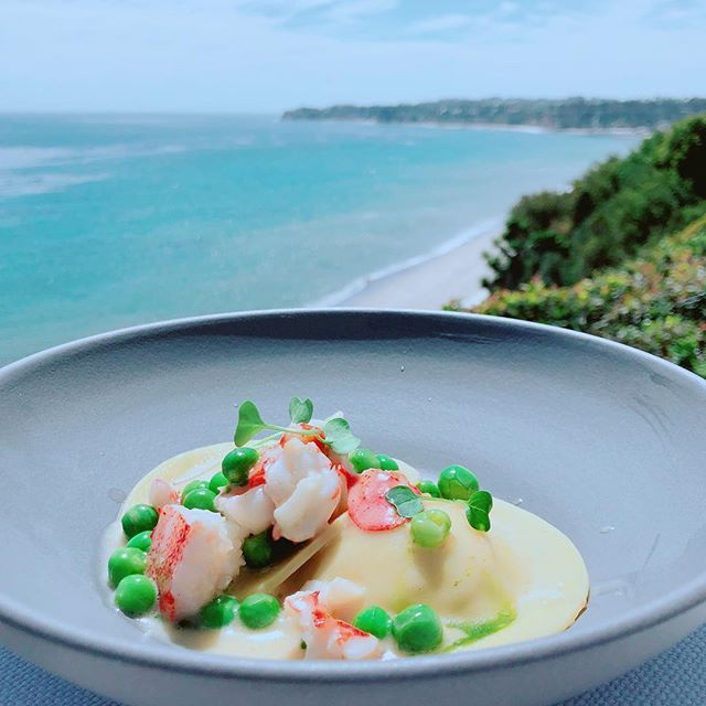 Chef Andrew // Sweet Corn Ravioli with Lobster and Spring Peas in a Blood Orange Beurre Blanc Sauce