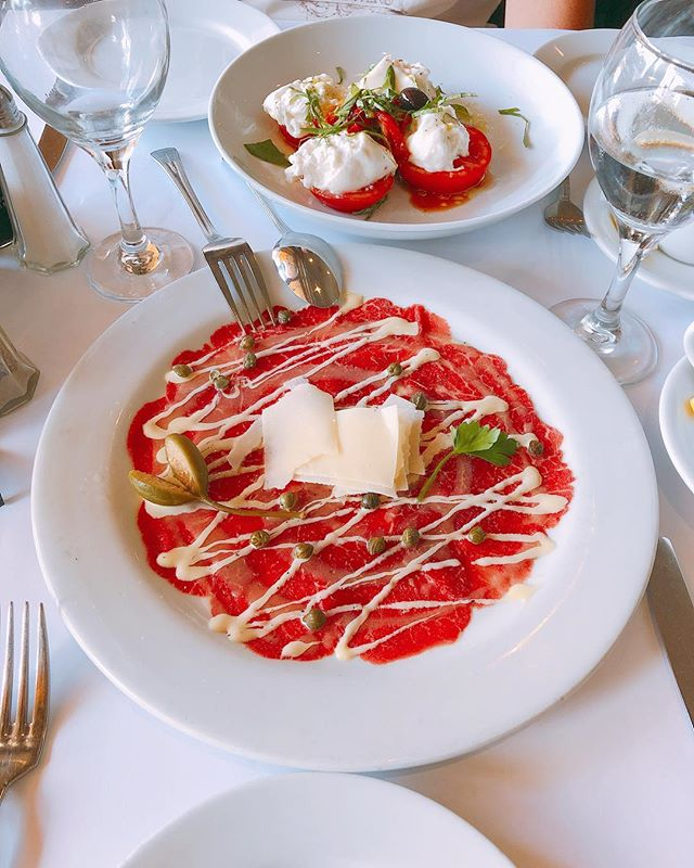 Il Pastaio // Carpaccio di Bue Beef Carpaccio Served with Capers, Shaved Parmesan Cheese, and Mustard Dressing