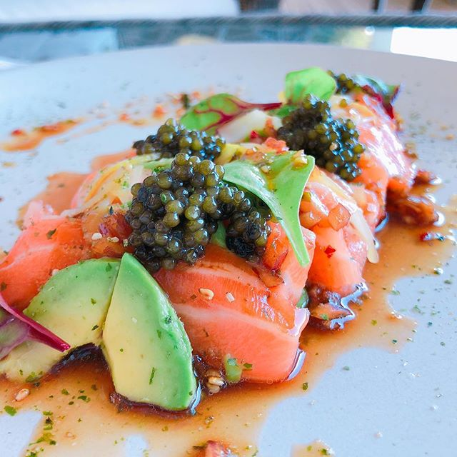 Chef Andrew // Salmon sashimi with caviar and avacado