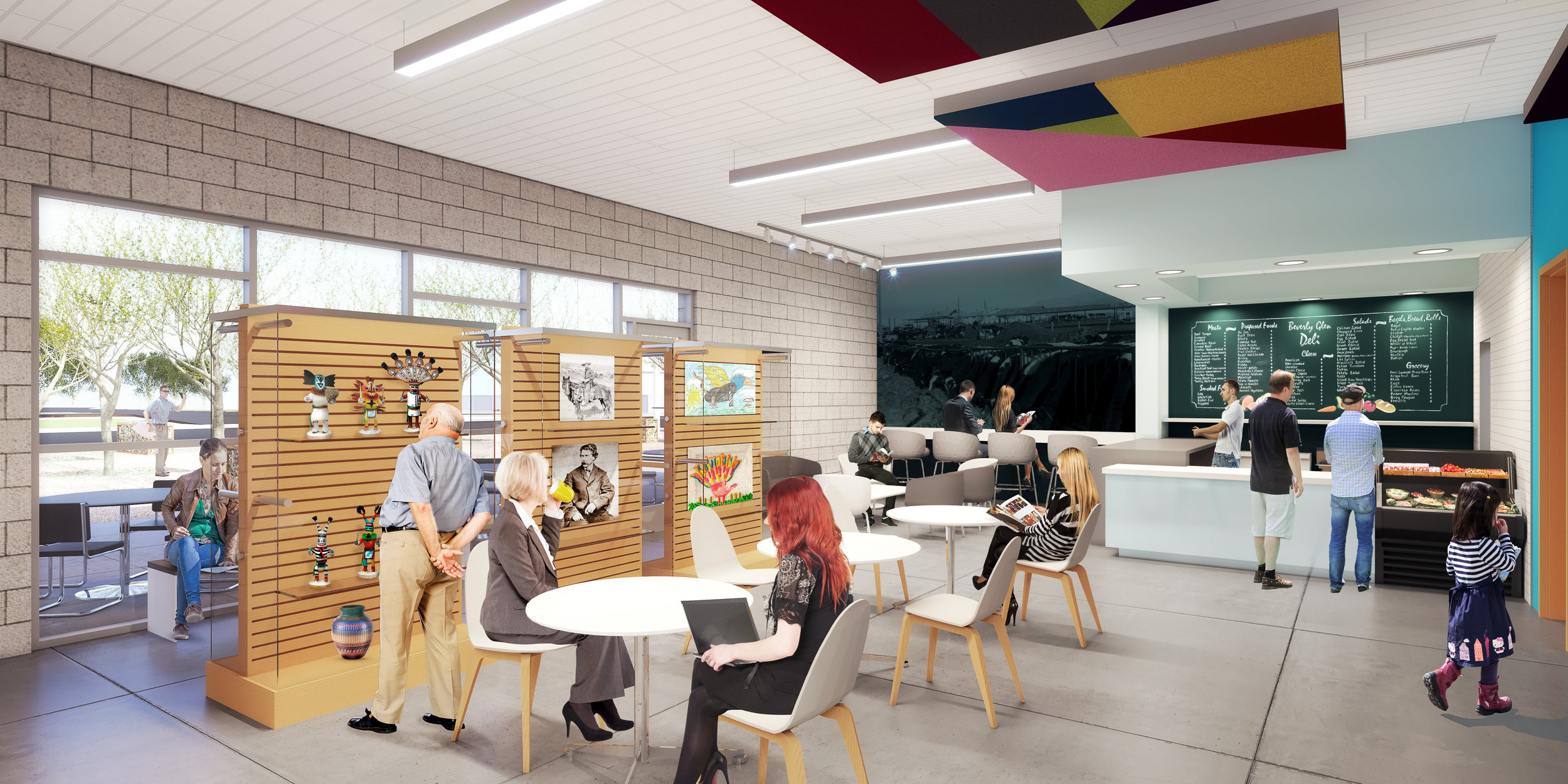 Interior view of main Library art gallery and cafe. (Rendering courtesy of Simpson Coulter Studio)