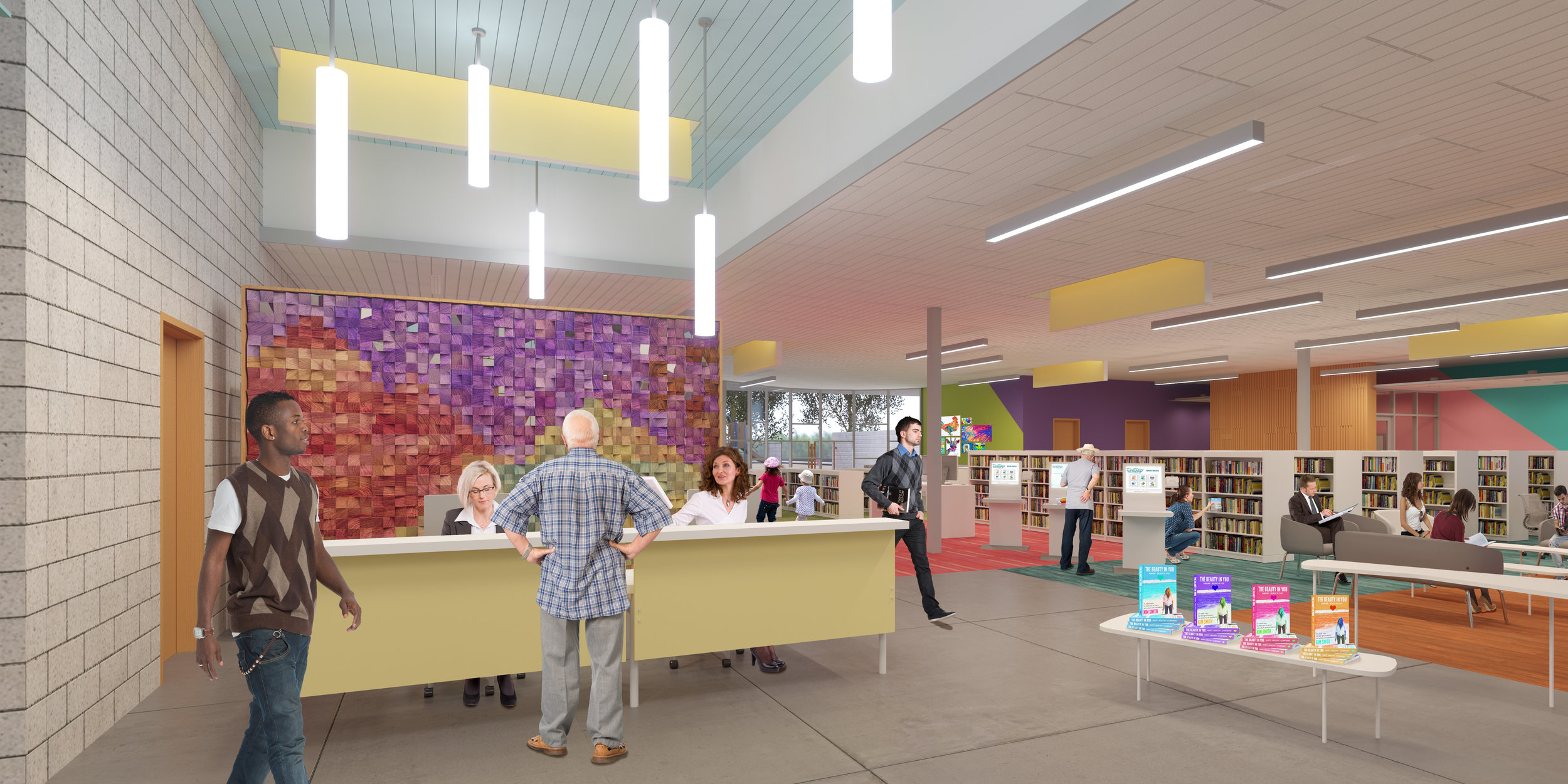 Interior view of main Library Hero's Wall and welcome desk. (Rendering courtesy of Simpson Coulter Studio)
