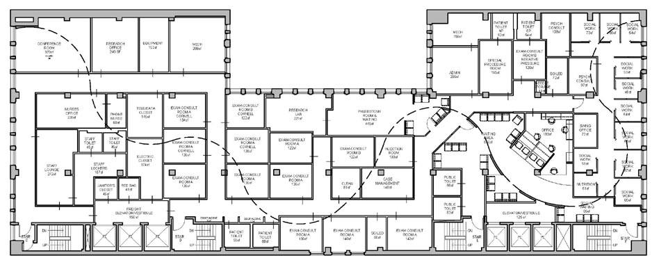 """Chelsea Clinic Relocation: test fit and schematic design proposal """"The Story Wall"""""""