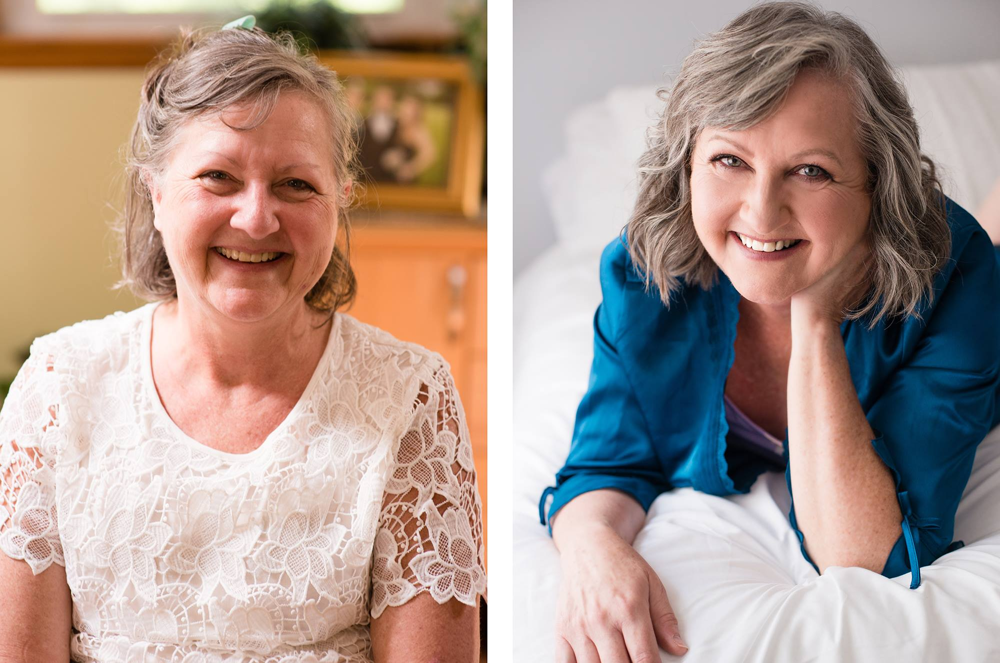 gorgeous mature Caucasian woman before and after transformation at LGEmerick Boudoir Studio