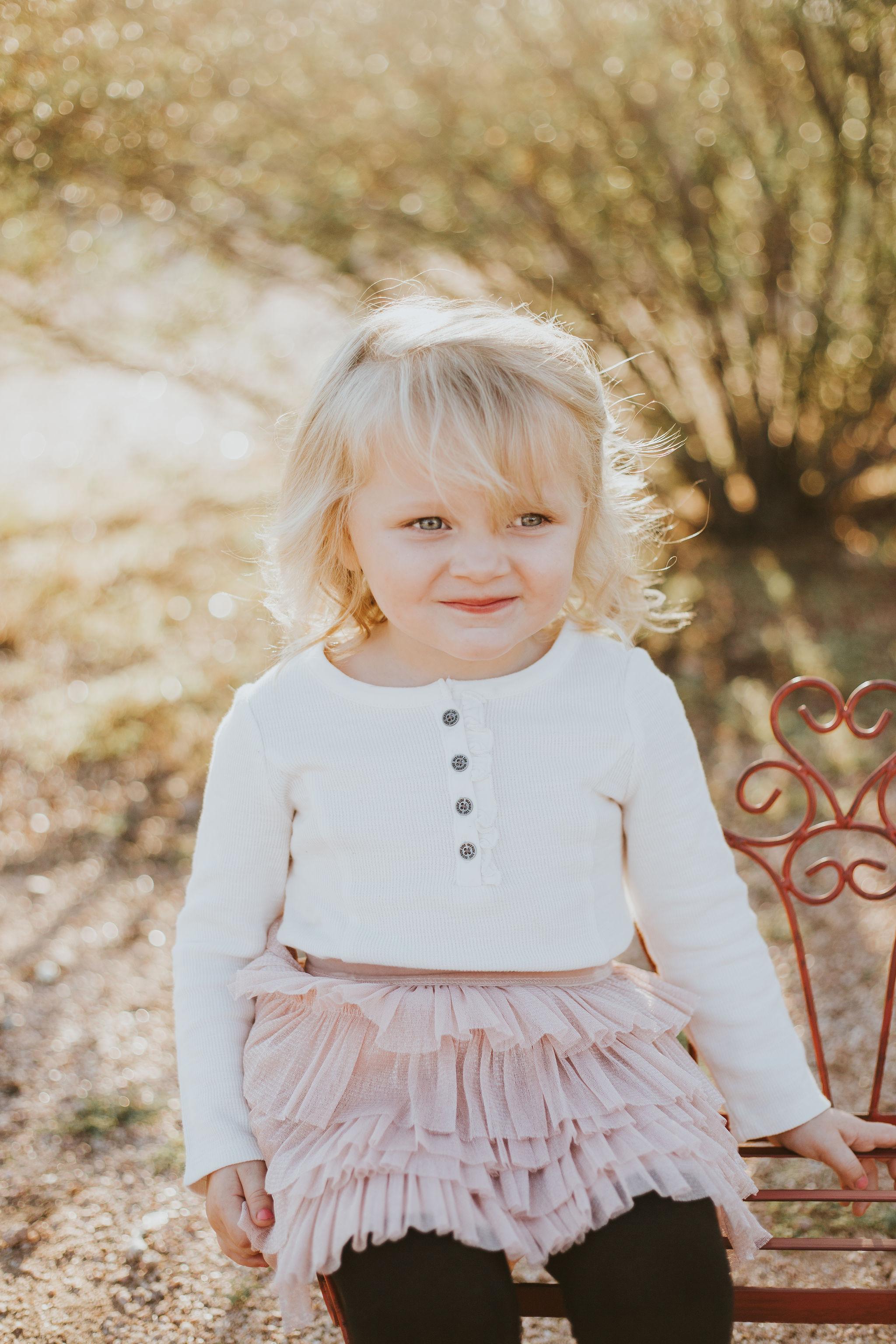 Little girl portrait | Natural light desert lifestyle family photography session | Lost Dutchman Mesa Arizona