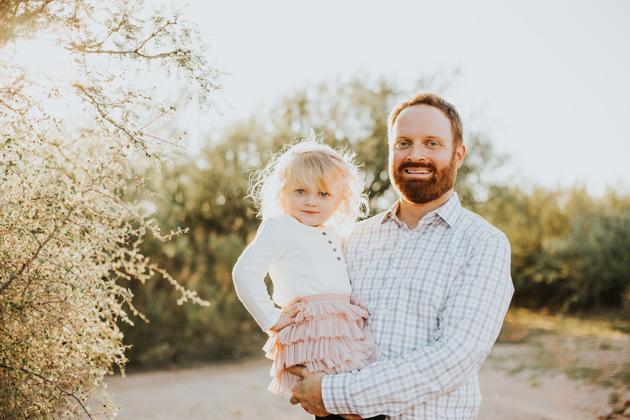 Father & Daughter portrait | Natural light desert lifestyle family photography session | Lost Dutchman Mesa Arizona