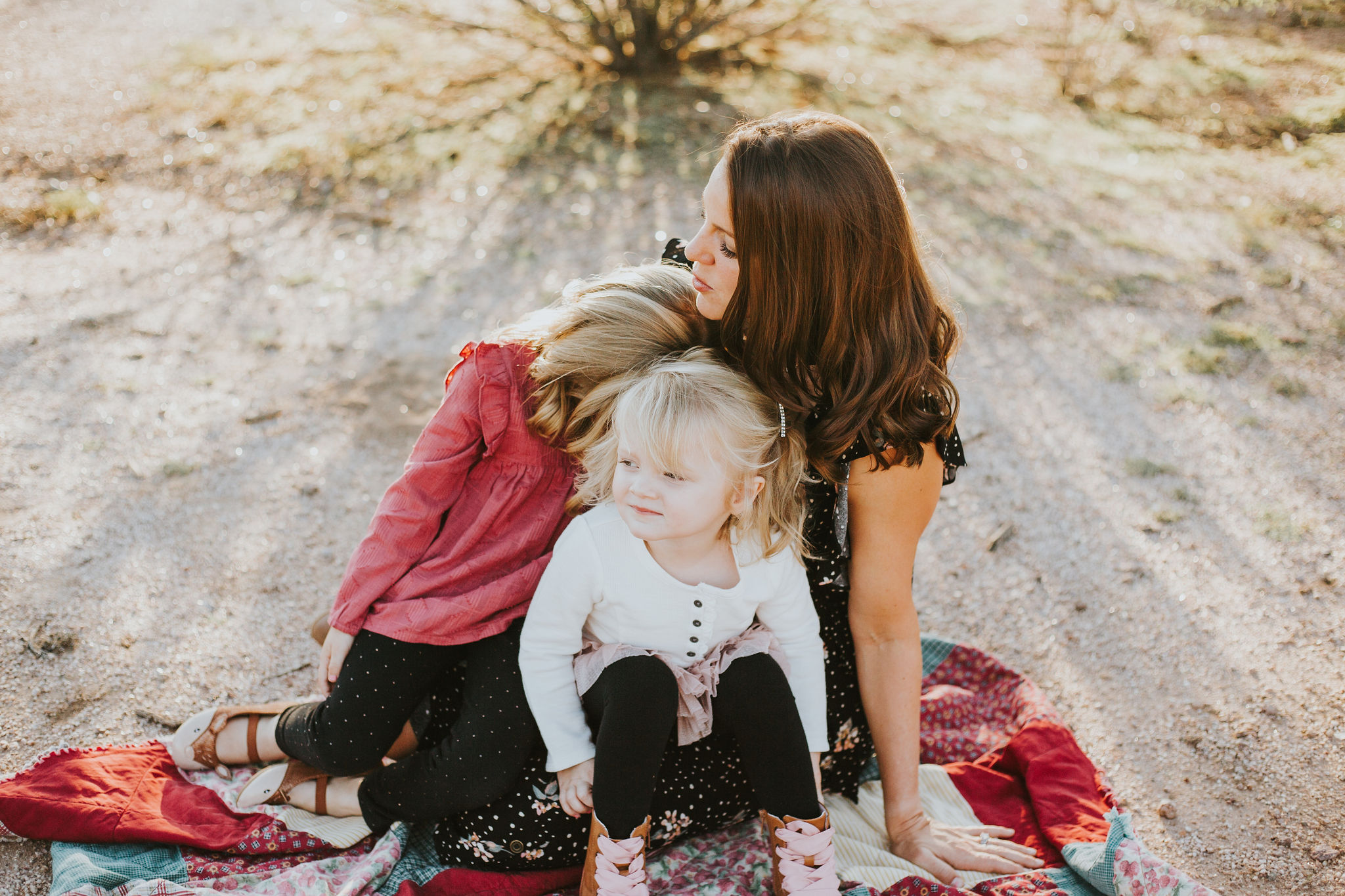 Mother & Daughters portrait | Natural light desert lifestyle family photography session | Lost Dutchman Mesa Arizona