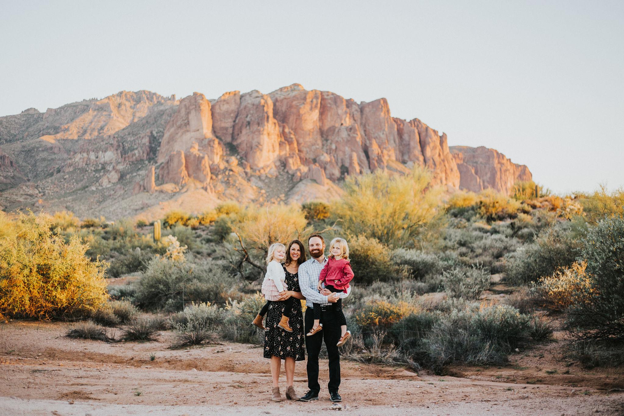 Family portrait | Natural light desert lifestyle family photography session | Lost Dutchman Mesa Arizona