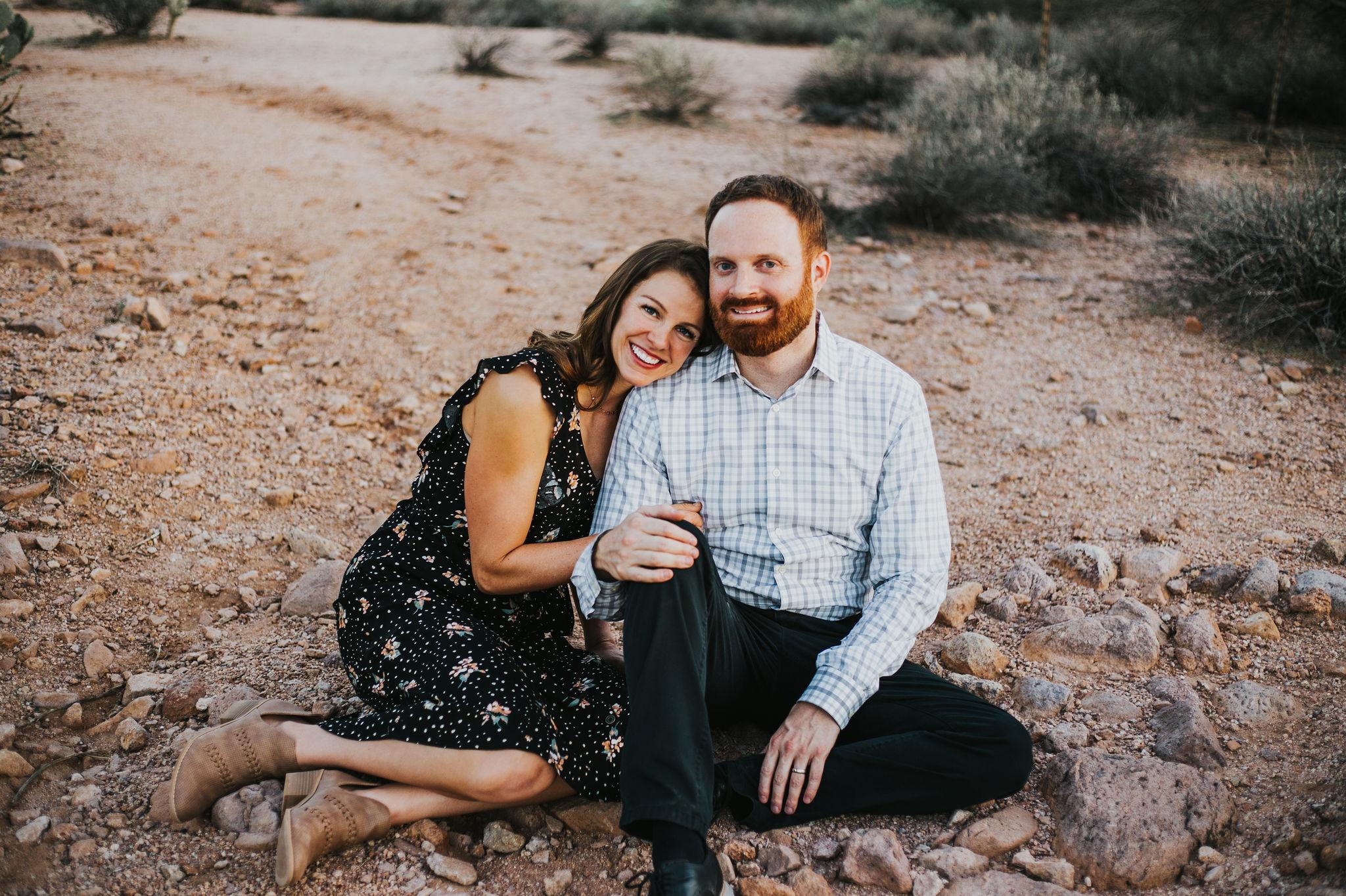 Parents couple portrait | Natural light desert lifestyle family photography session | Lost Dutchman Mesa Arizona