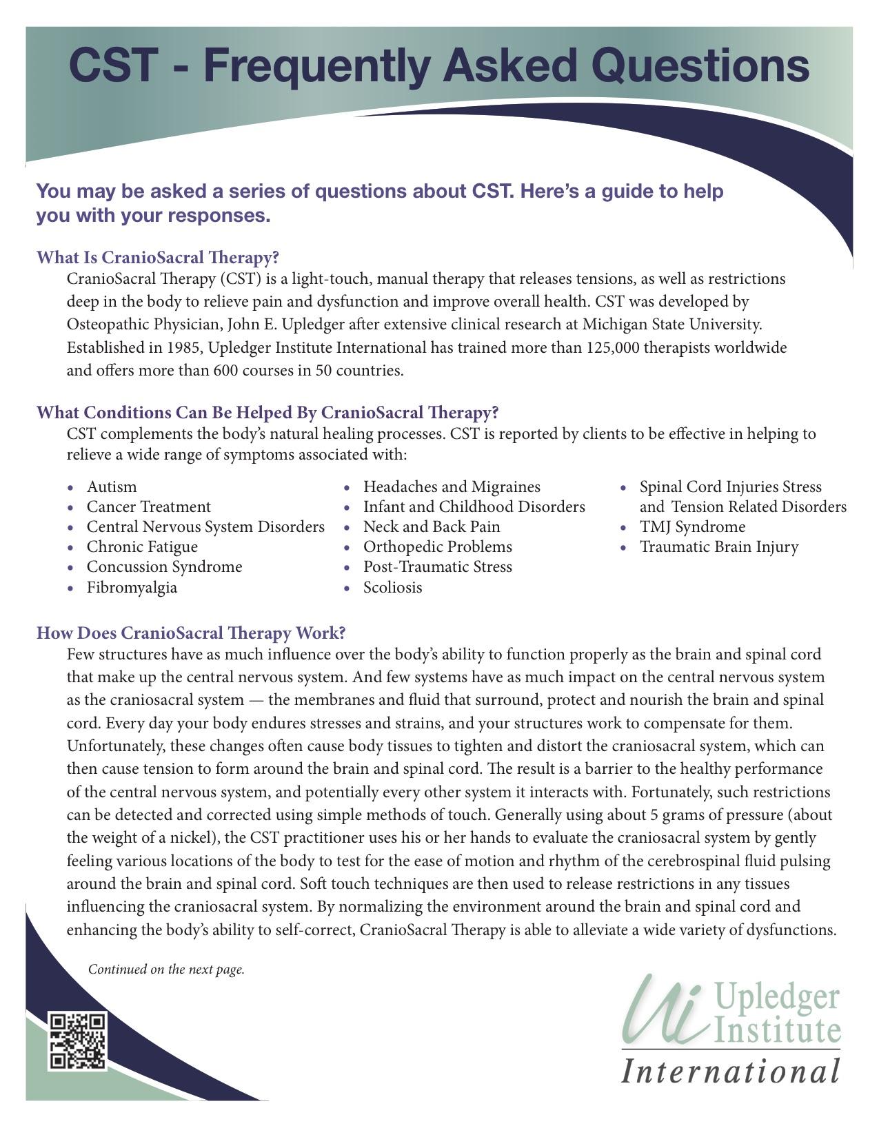 CranioSacral Therapy FAQ