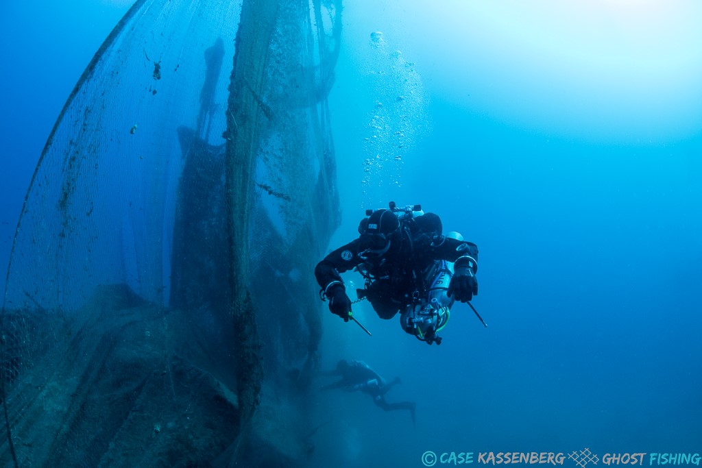 Ghost Fishing   diver removing abandoned net in Aegean Sea.