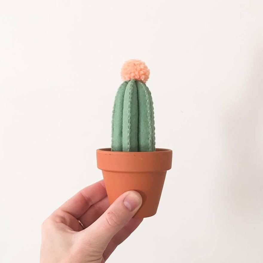 SAH-RAH    Carefree cacti--handmade cactus made from felt topped with a pom-pom.