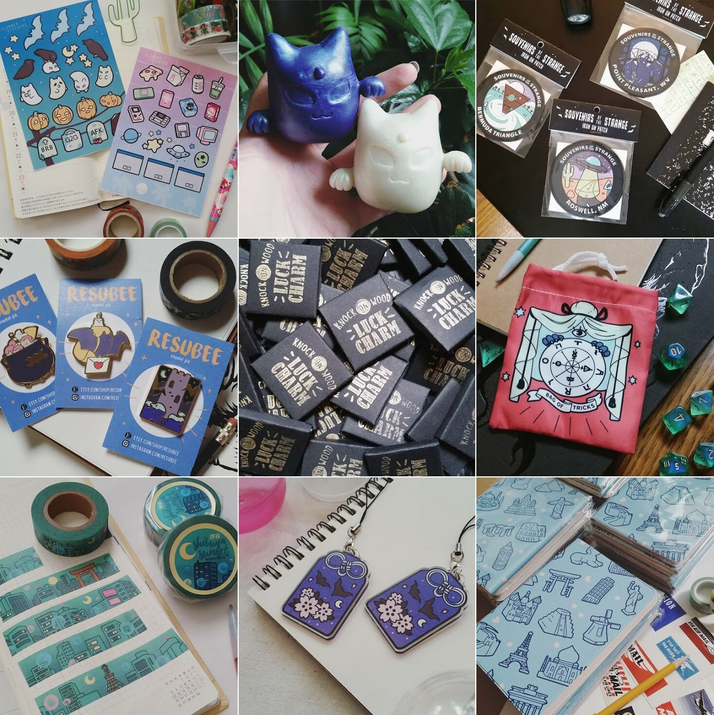 LM Pederson    Patches, enamel pins, stationery items (stickers, journal, washi tape), tarot decks, small prints, wooden charms, resin art toys.