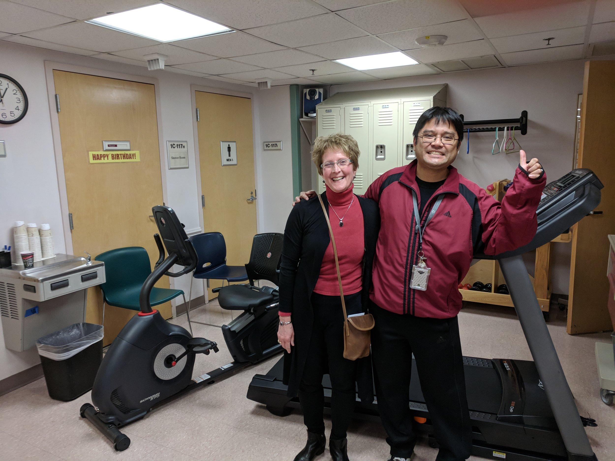 UVS volunteer Laura Balun & a VA nurse alongside the new equipment