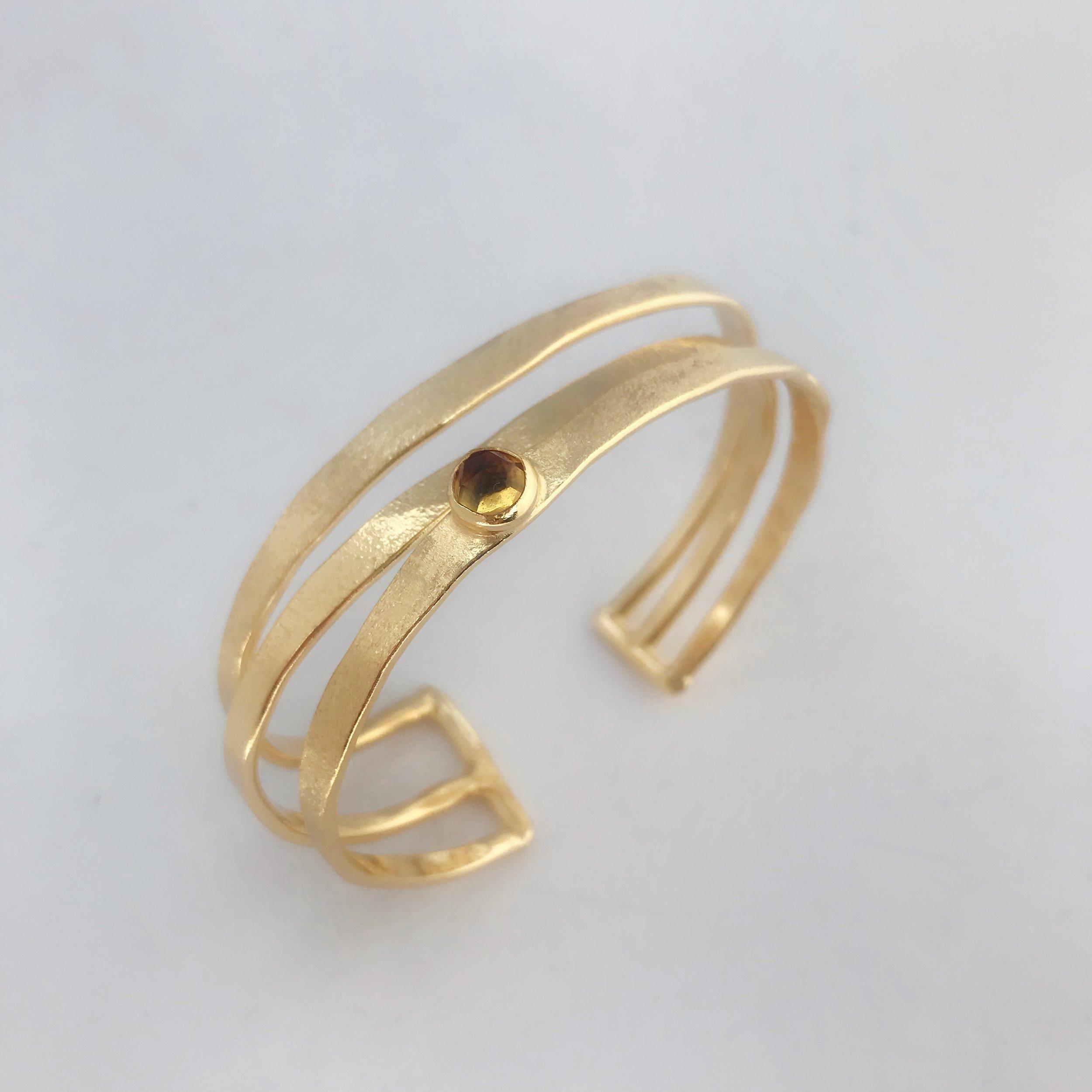 Three Cage Bracelet, Gold Plate, Citrine