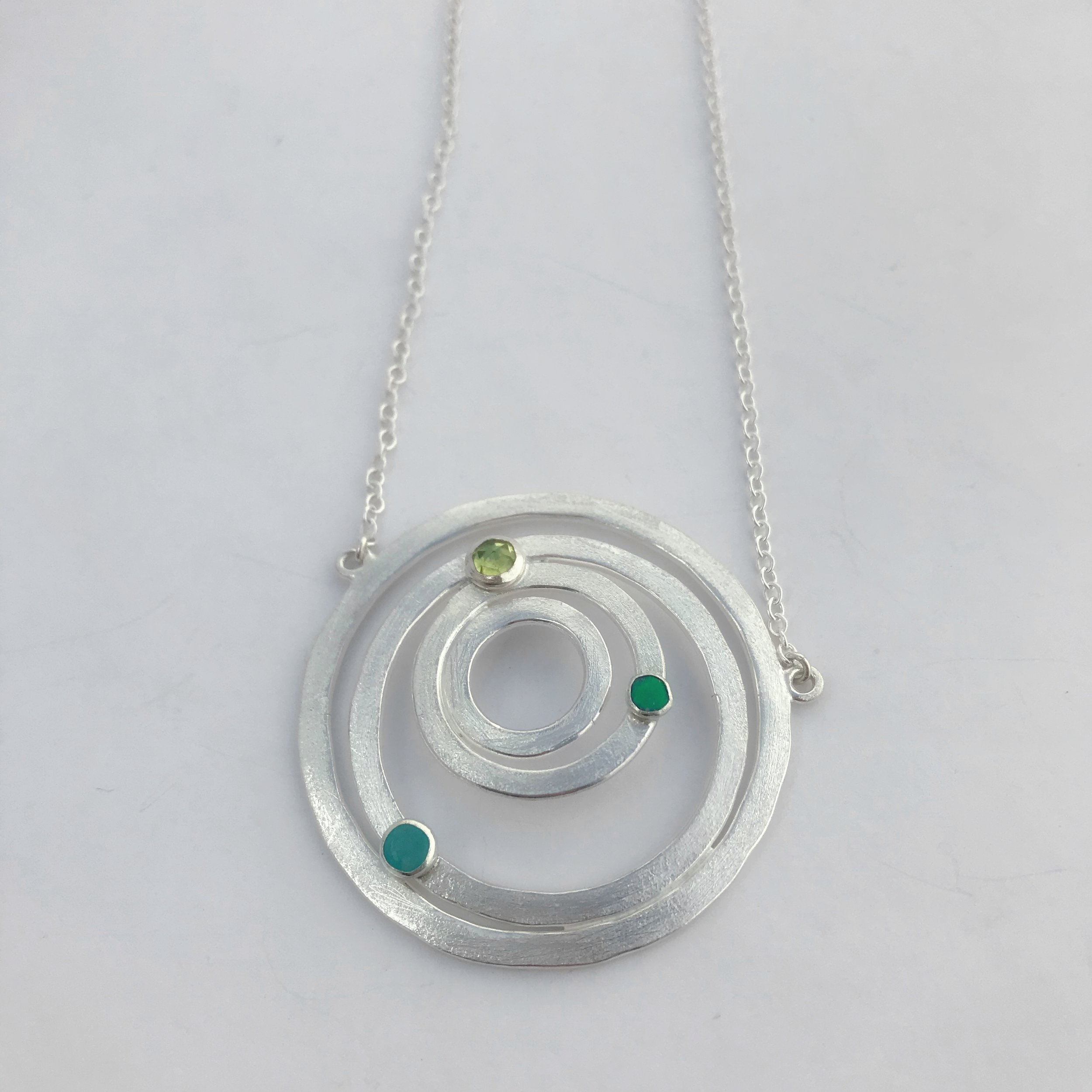 Saturn Necklace, Sterling Silver, Three Assorted Stones