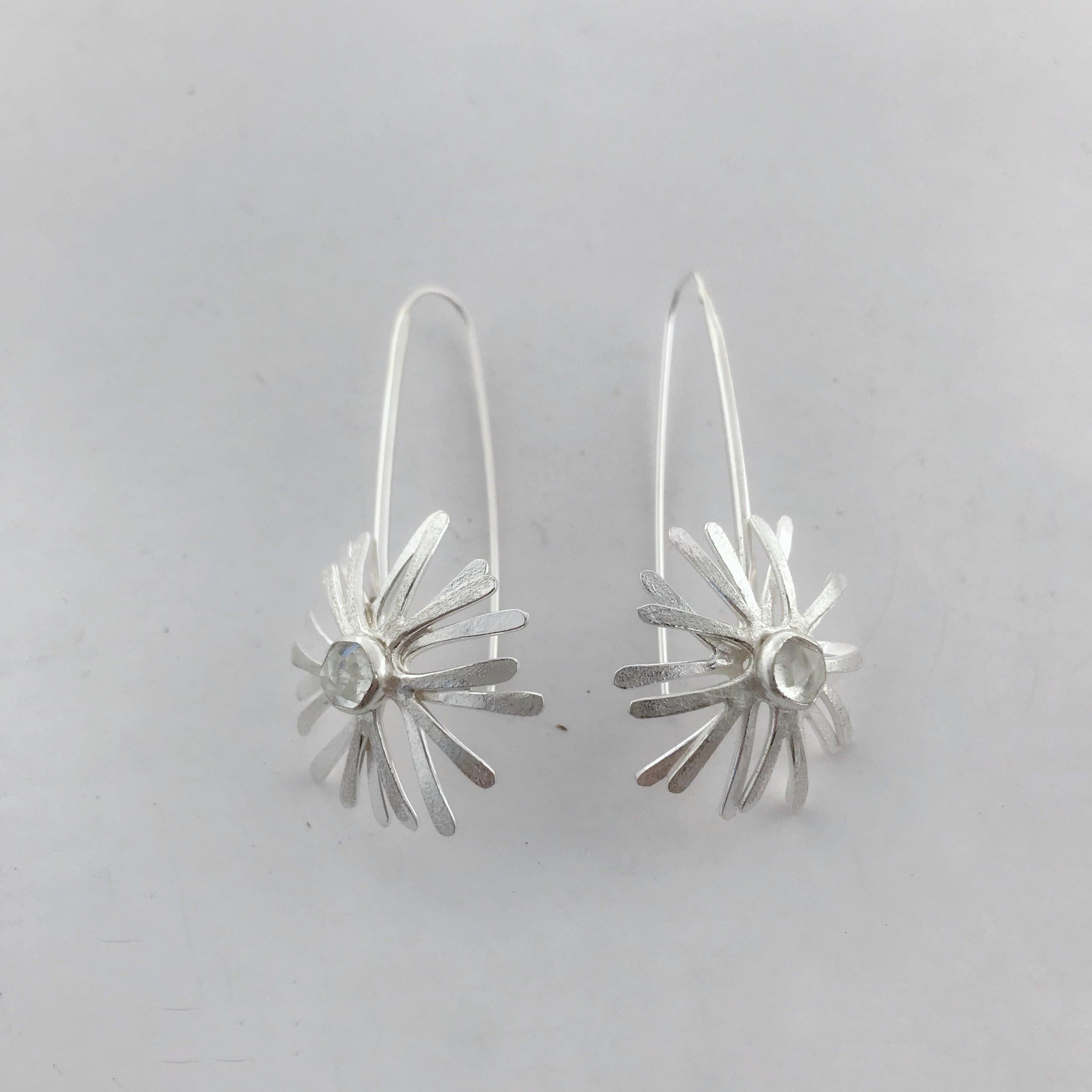 Starburst Earrings, Sterling Silver, White Topaz