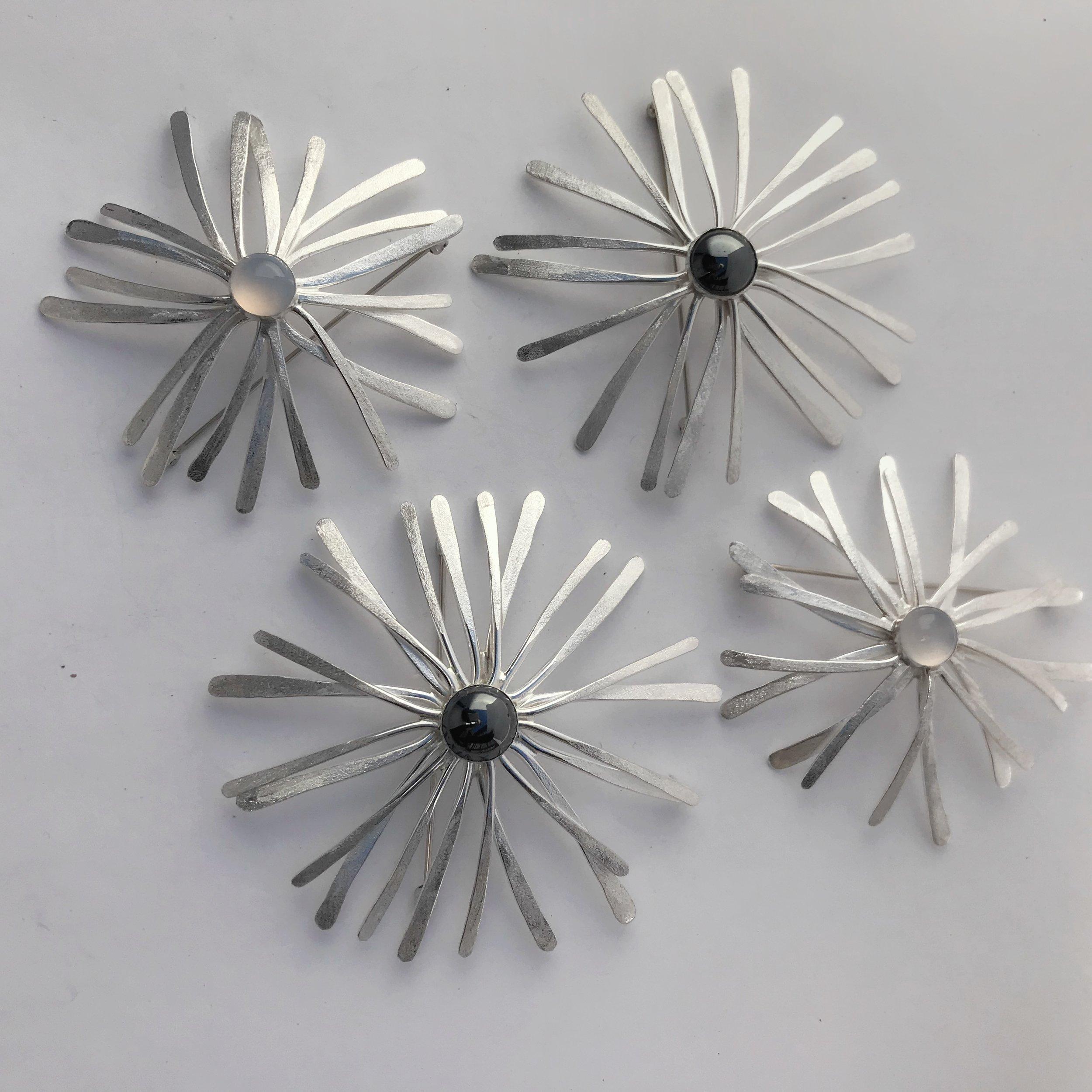 Assorted Starburst Pins, Sterling Silver