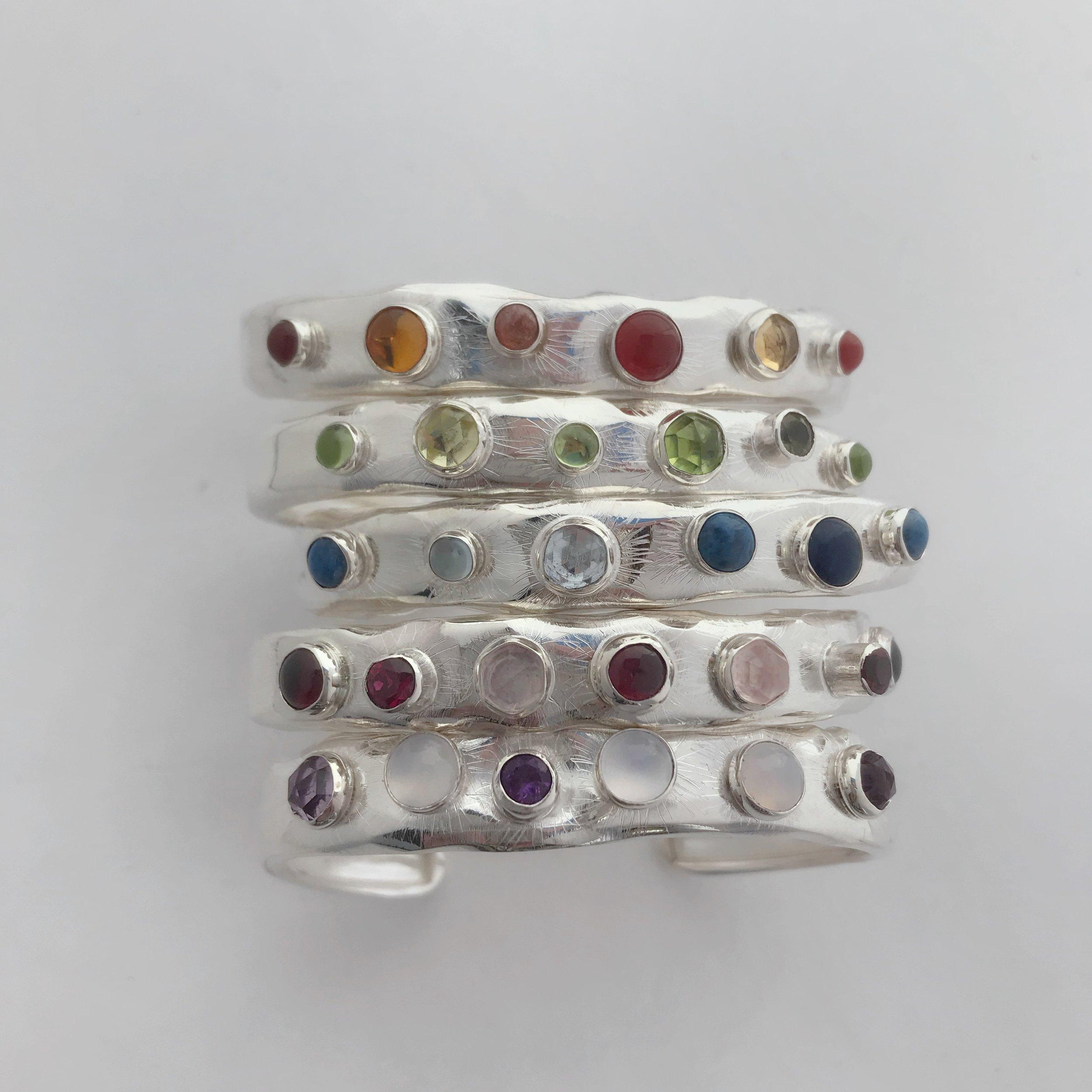 Assorted Twilight Cuffs, Sterling Silver, Seven Monochromatic Semi Precious Stone Combinations