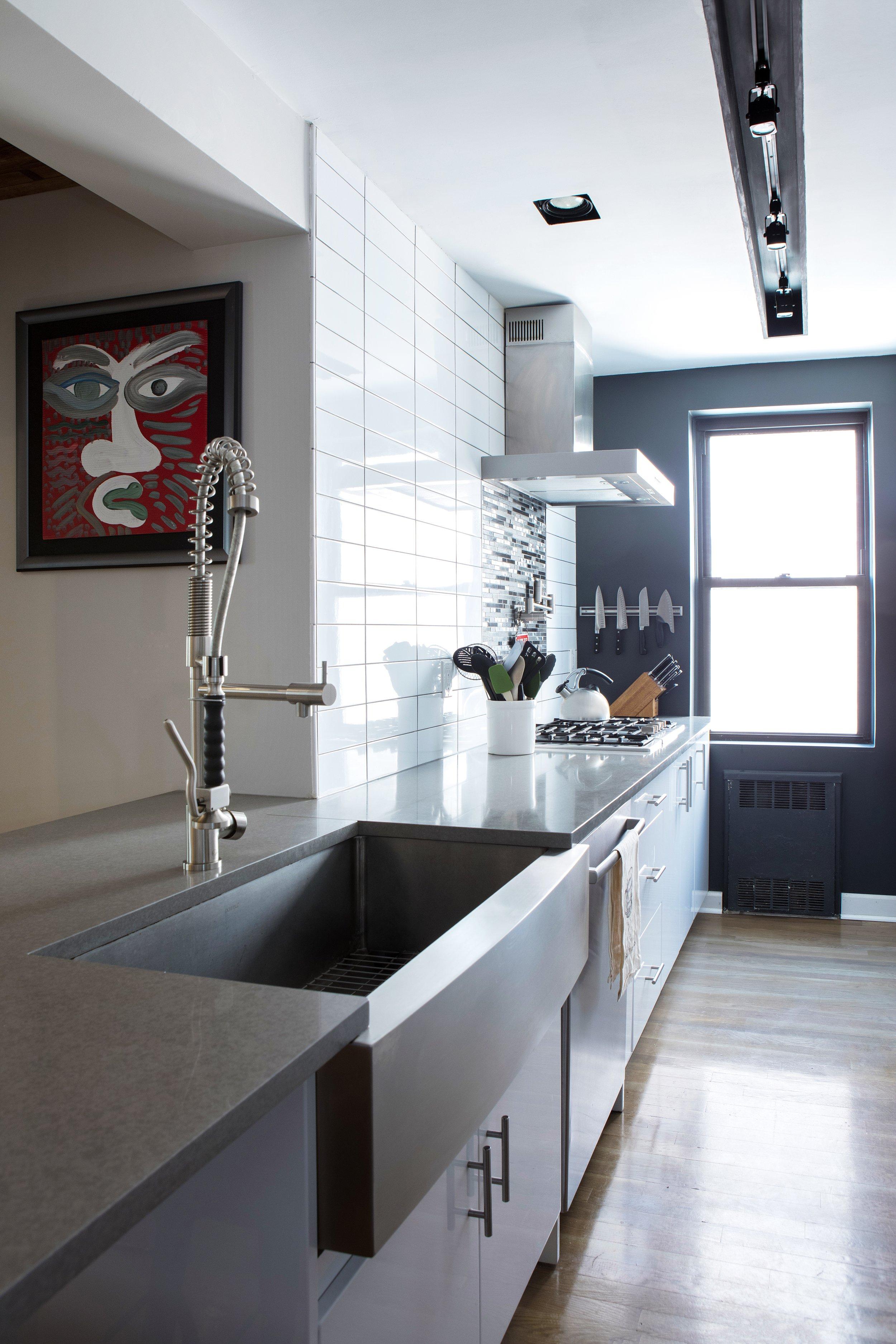 Modern, light, bright grey and white kitchen by Dickerman Design, Brooklyn kitchen design