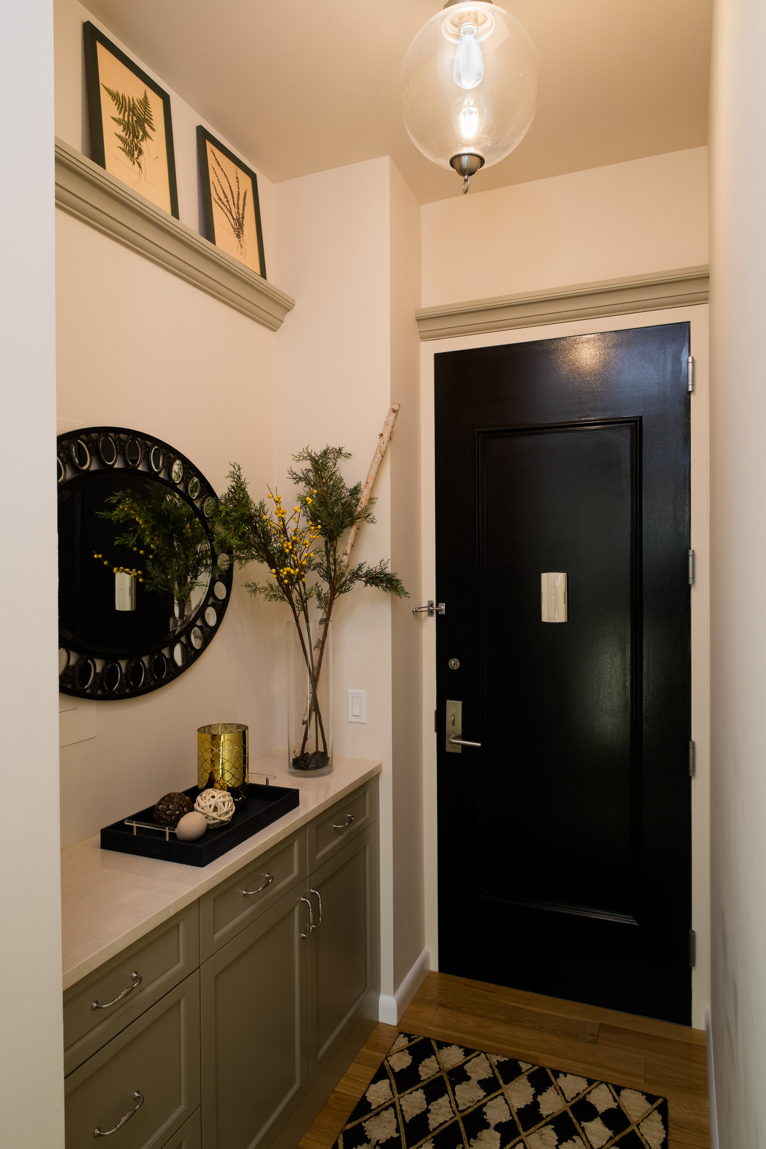 Dickerman Design design project entryway after image, clean, modern and utilizes the space beautifully