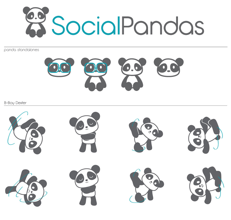 Logo work and Character development for Social Pandas