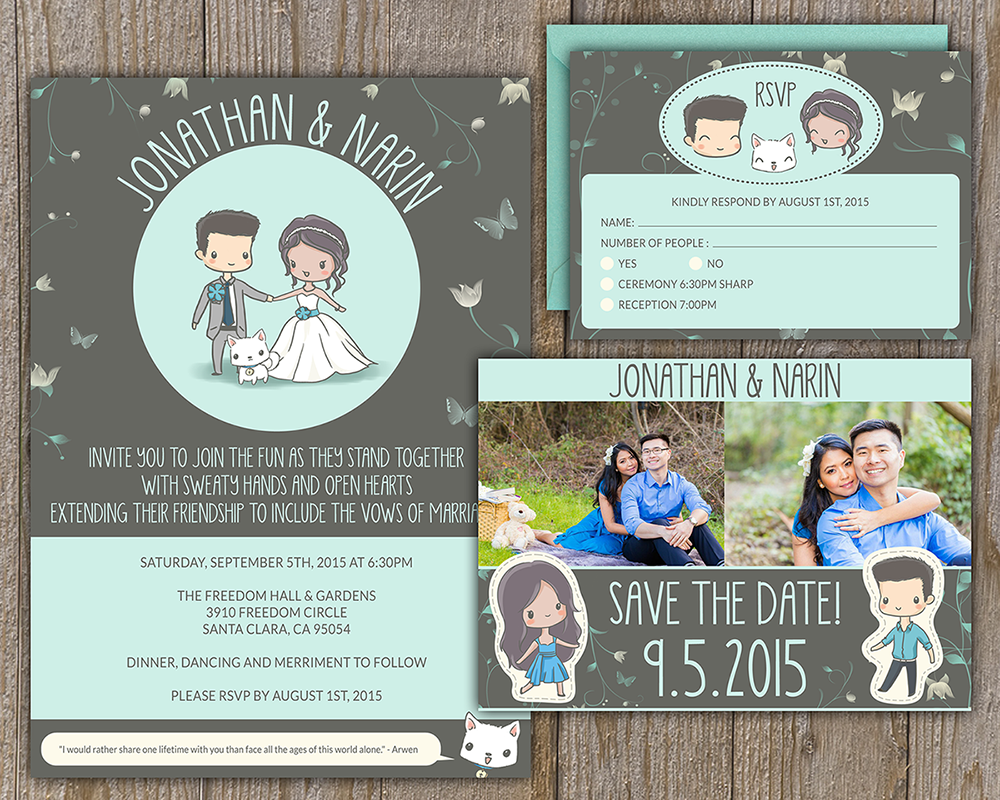 Custom designed and illustrated wedding invitations for Jonathan & Narin