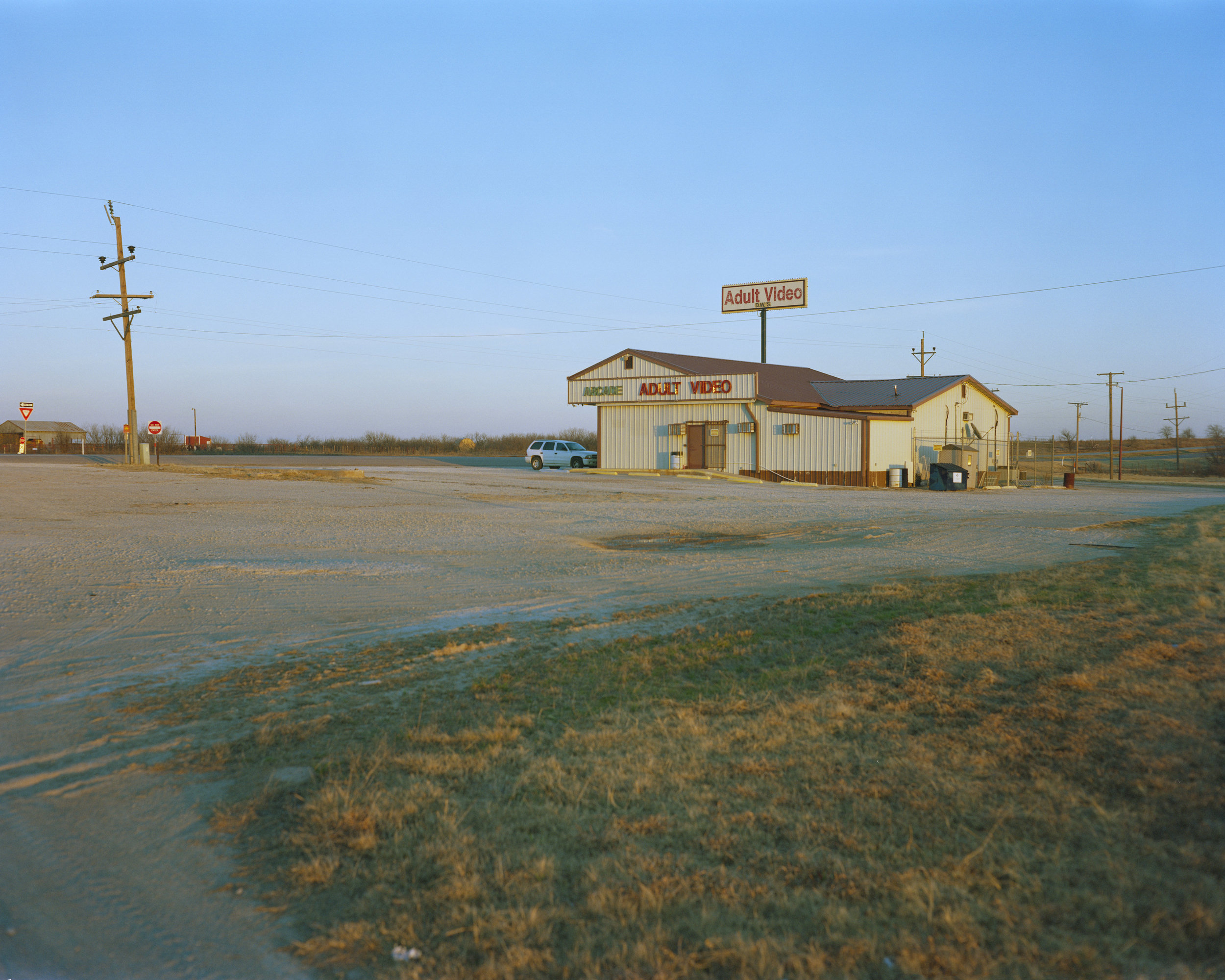 Adult Video, Highway 287, TX, 2017 - 4x5 film