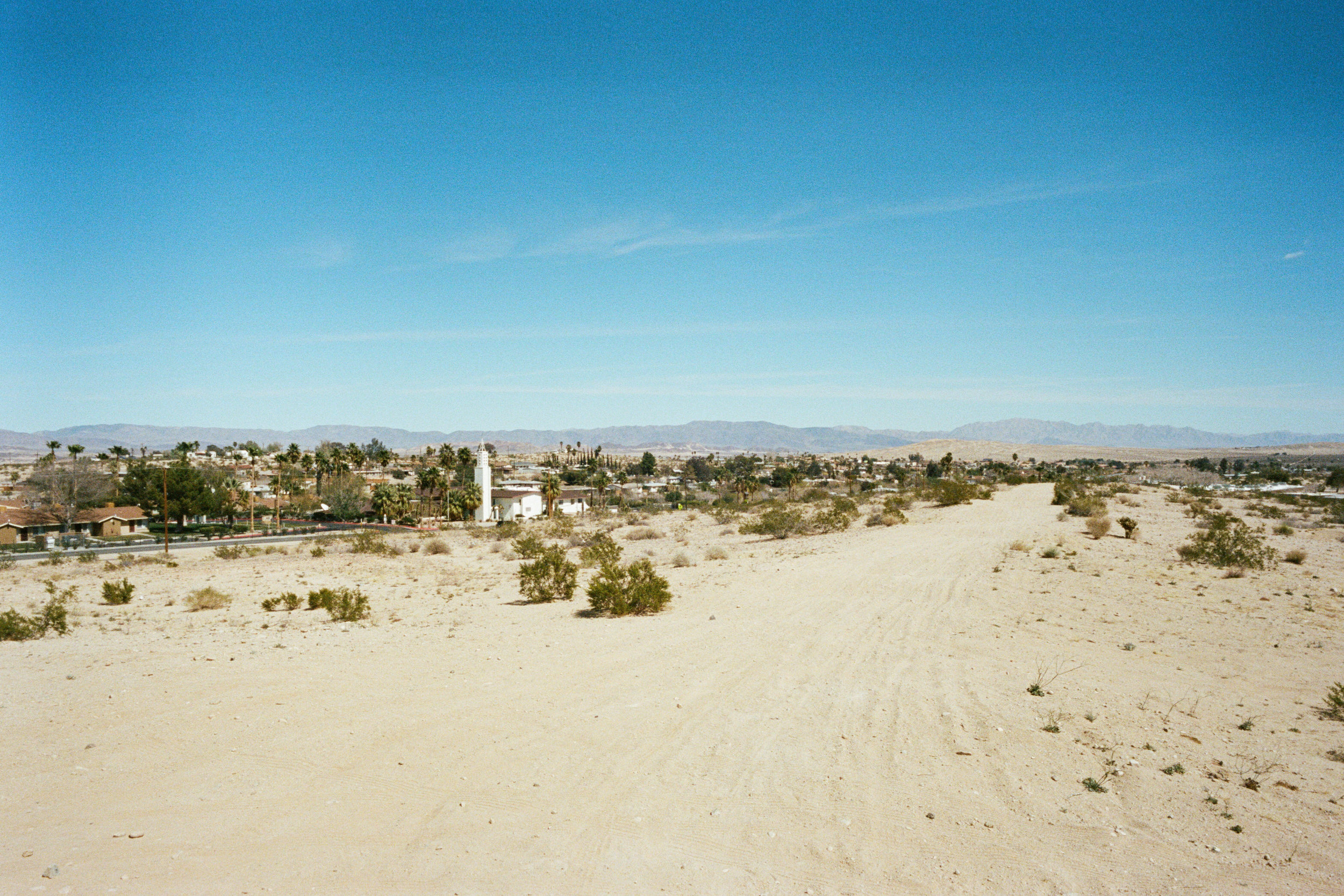 Up the hill from Highway 62 and looking east, CA desert, 2018 - 35mm Portra