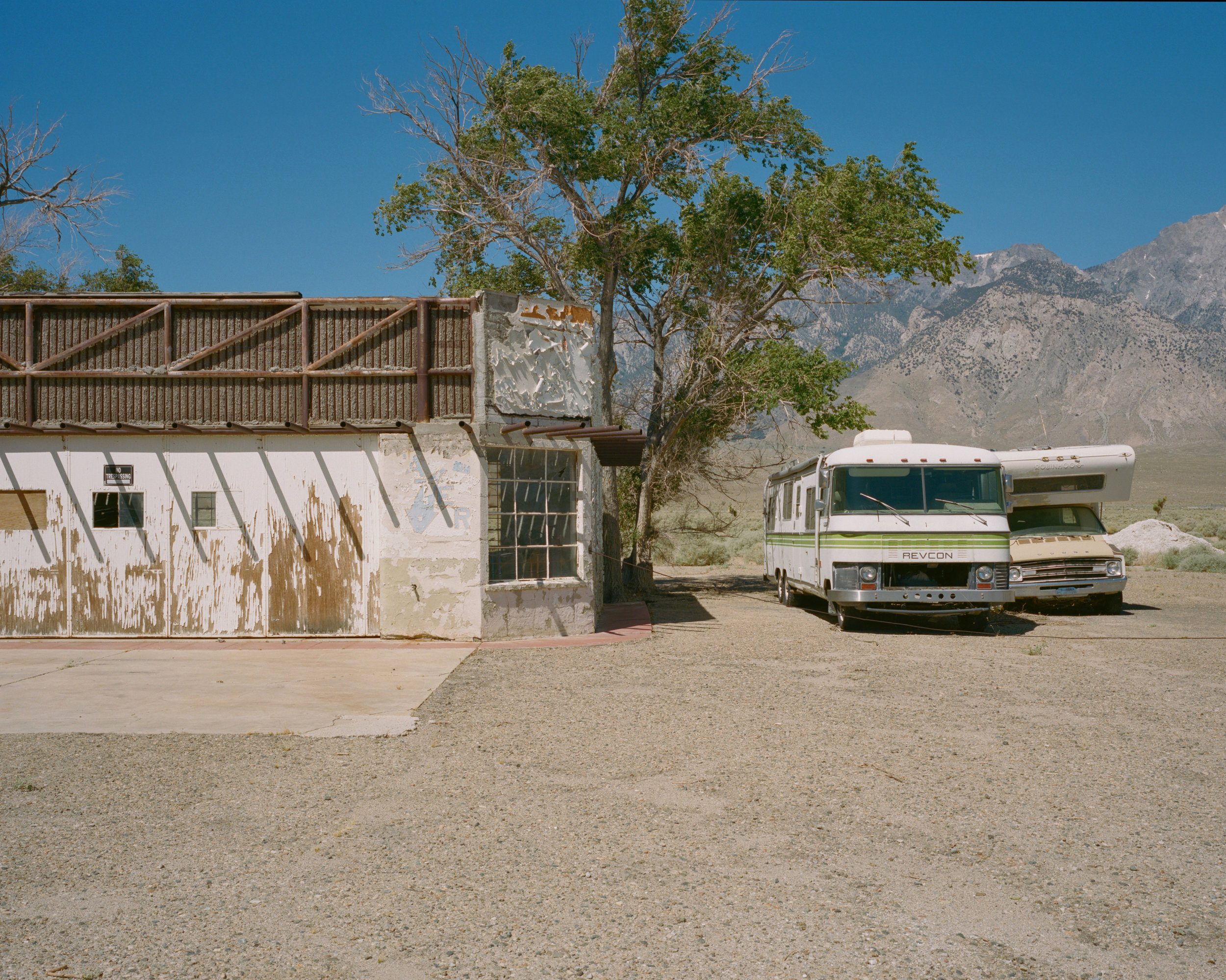 Old service station; Revcon RV still present, Highway 395, CA, 2019 - 120 Portra (6x7)