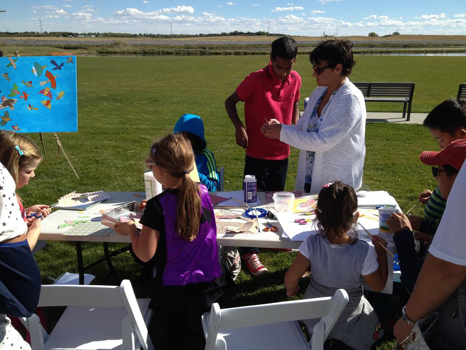Art workshops for promoting  Get to Know  art contest, and Interactive public art  On the Wing  displayed at Ralph Klein Park, Calgary, 2013