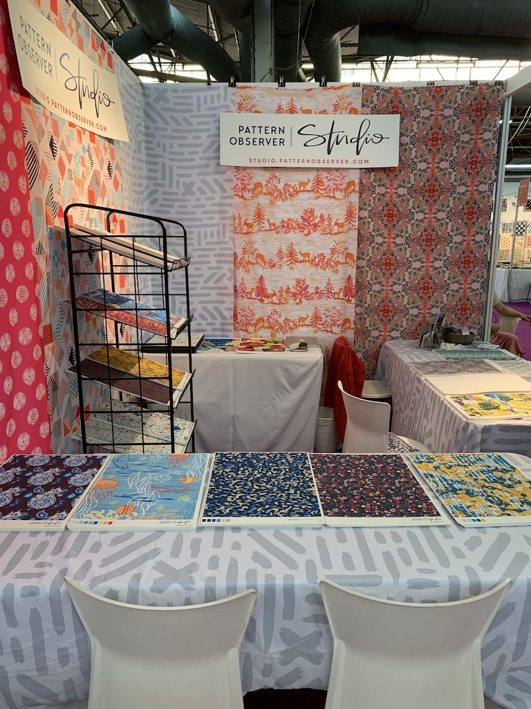 The  Pattern Observer Studio  booth at Premier Vision NYC, July 2019.  My Hinterland Toile design was at the show, printed out and hung on the booth.