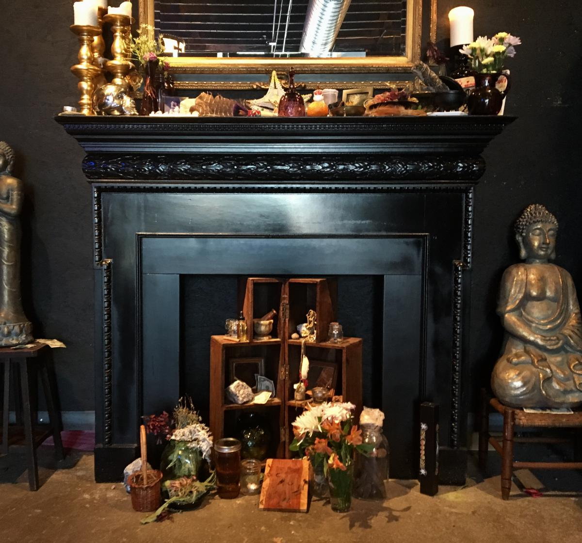 Haley Murphy's altar, where she begins her morning rituals. She starts each day starts by burning sage and sometimes ringing the purple bell on her mantel.   CREDIT OLLIVIA REINGOLD