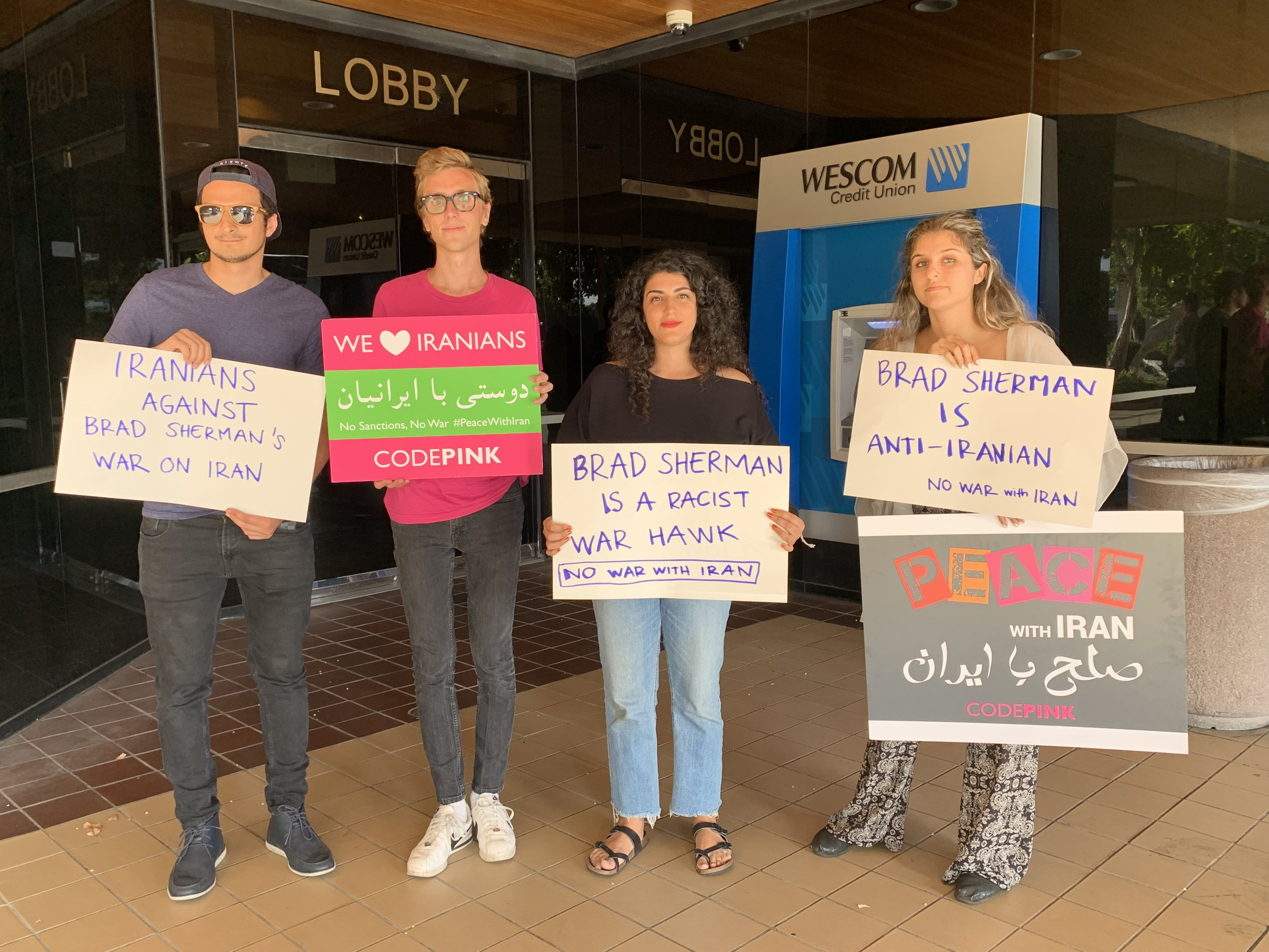 Outside Congressman Brad Sherman's office in Sherman Oaks, CA, community members shut down his office in protest of Sherman calling for violence against Iranians.