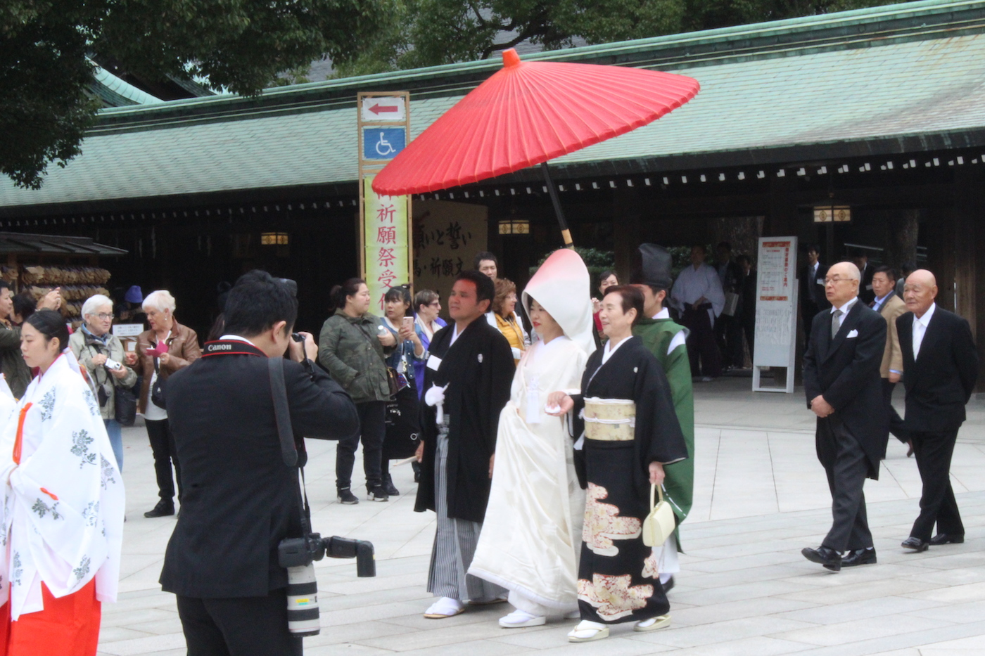 While we were at the shrine a procession came through.