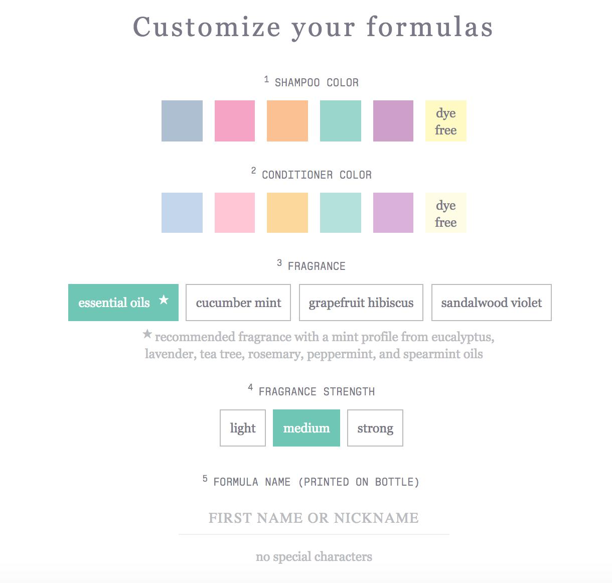 Formula customization